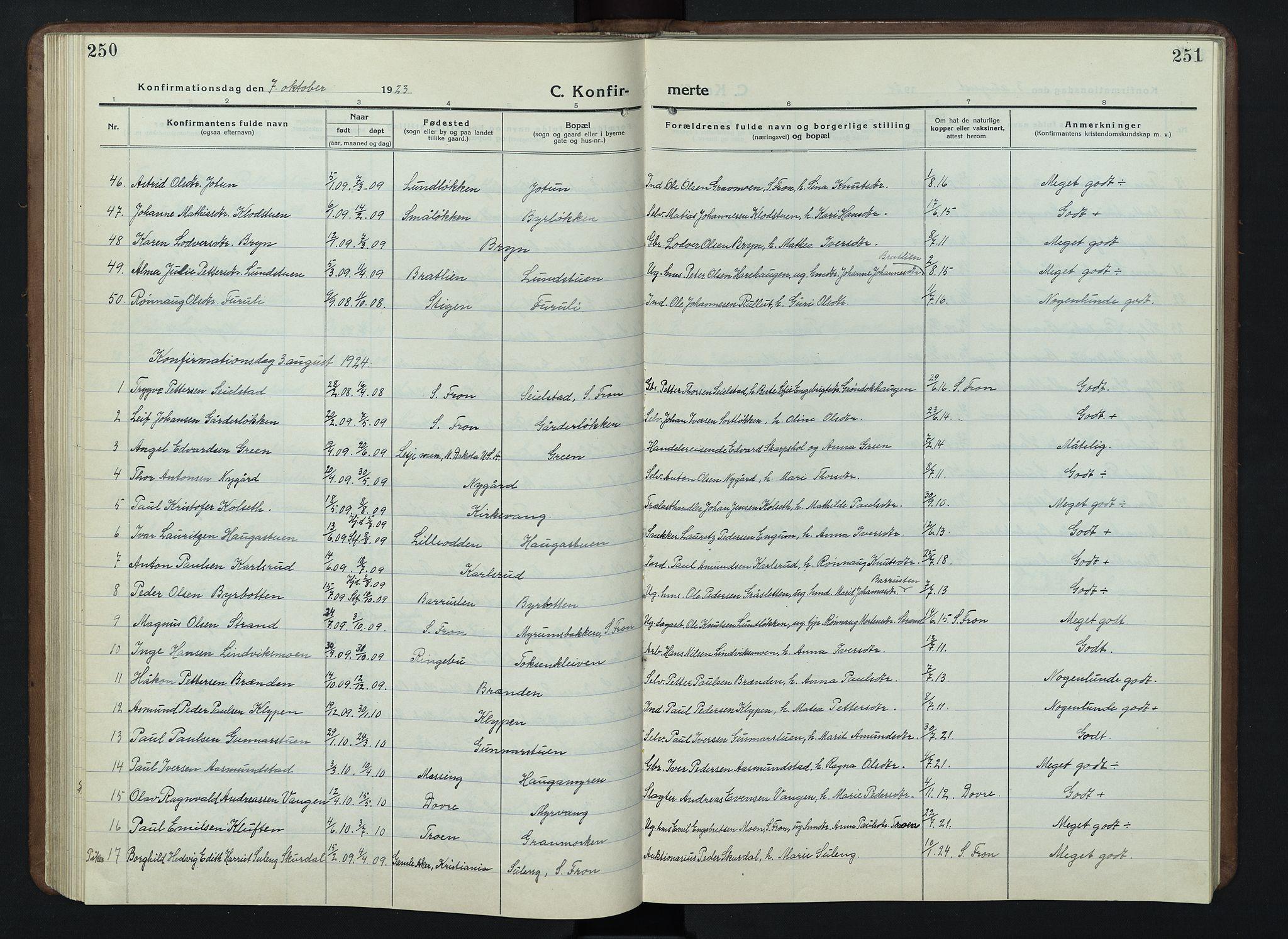 SAH, Nord-Fron prestekontor, Klokkerbok nr. 7, 1915-1946, s. 250-251