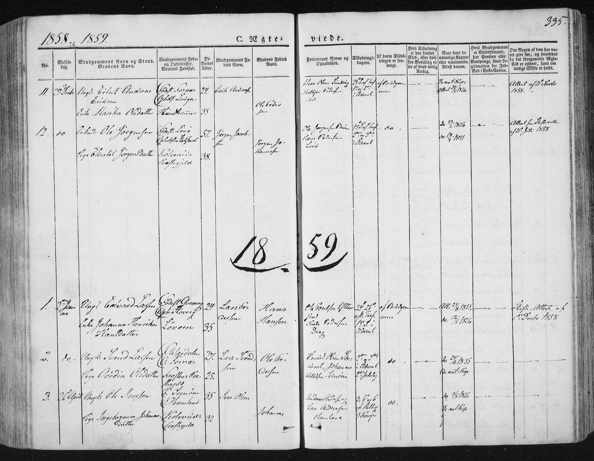 SAT, Ministerialprotokoller, klokkerbøker og fødselsregistre - Nord-Trøndelag, 784/L0669: Ministerialbok nr. 784A04, 1829-1859, s. 335