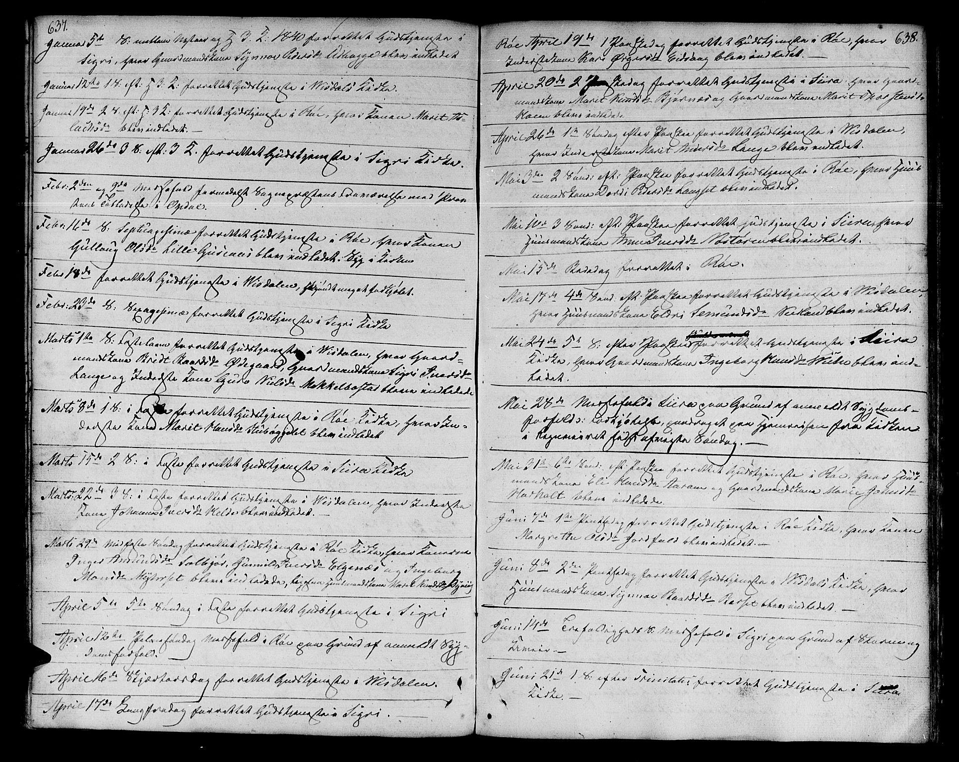 SAT, Ministerialprotokoller, klokkerbøker og fødselsregistre - Møre og Romsdal, 551/L0624: Ministerialbok nr. 551A04, 1831-1845, s. 637-638