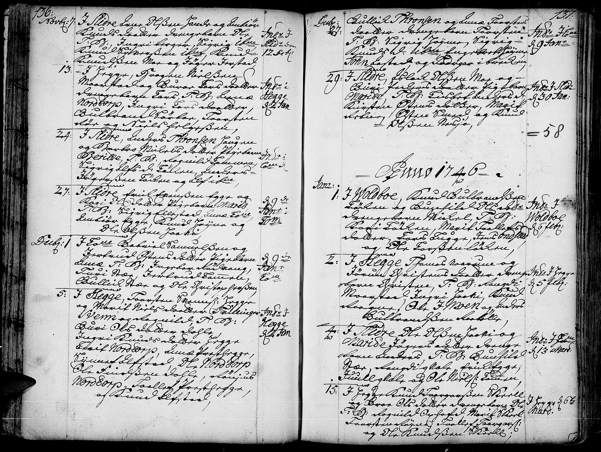 SAH, Slidre prestekontor, Ministerialbok nr. 1, 1724-1814, s. 136-137