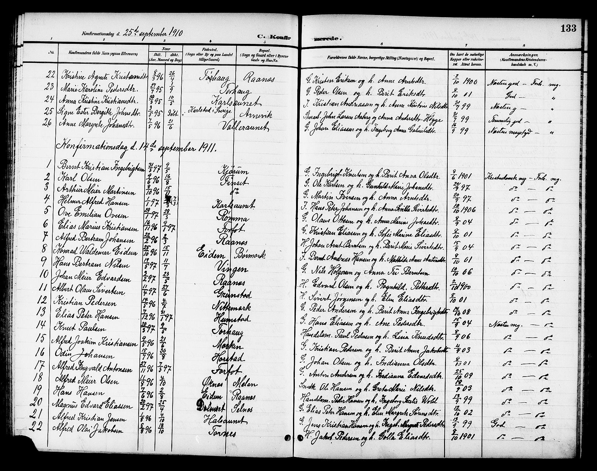 SAT, Ministerialprotokoller, klokkerbøker og fødselsregistre - Sør-Trøndelag, 655/L0688: Klokkerbok nr. 655C04, 1899-1922, s. 133