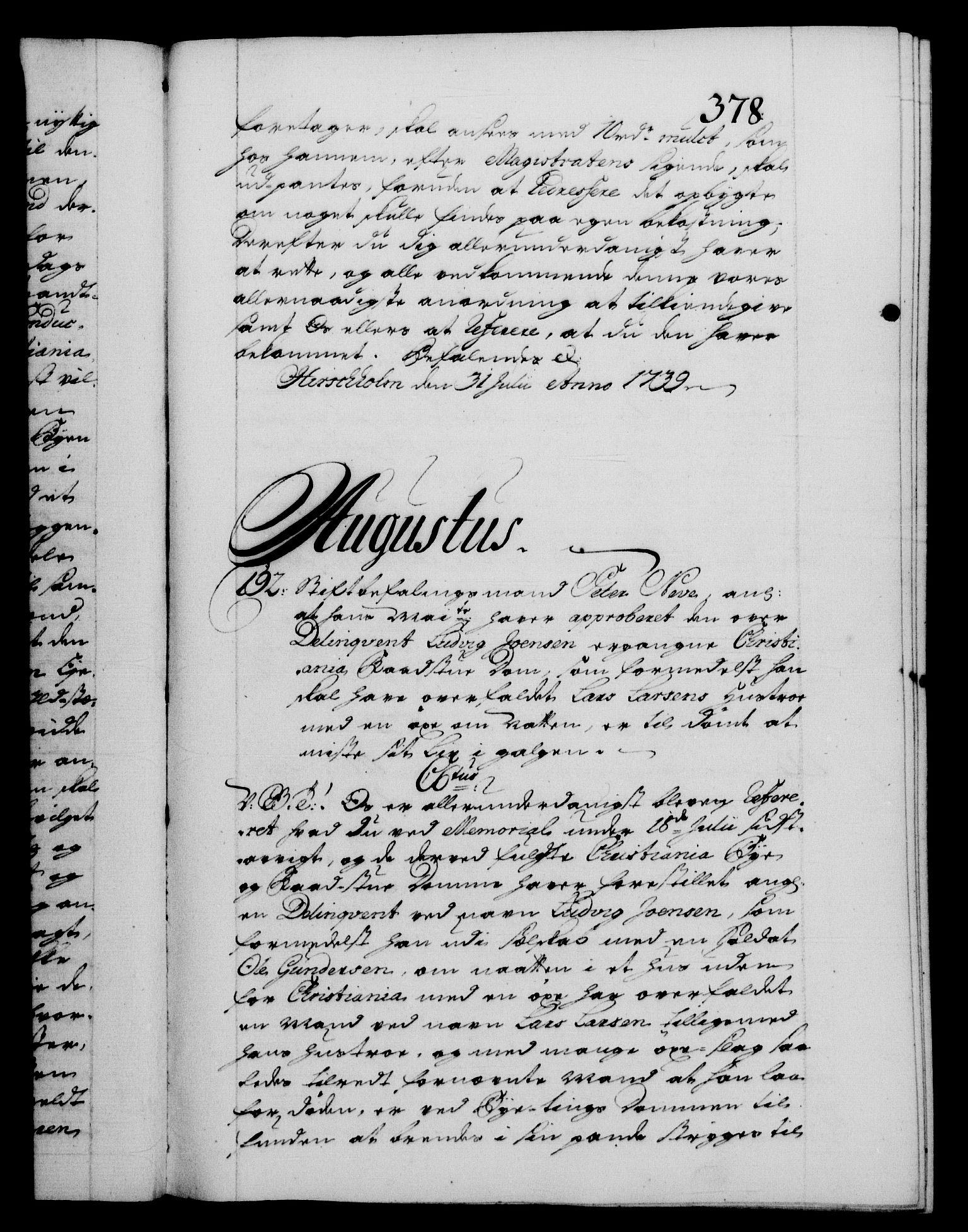 RA, Danske Kanselli 1572-1799, F/Fc/Fca/Fcab/L0028: Norske tegnelser, 1738-1740, s. 378a