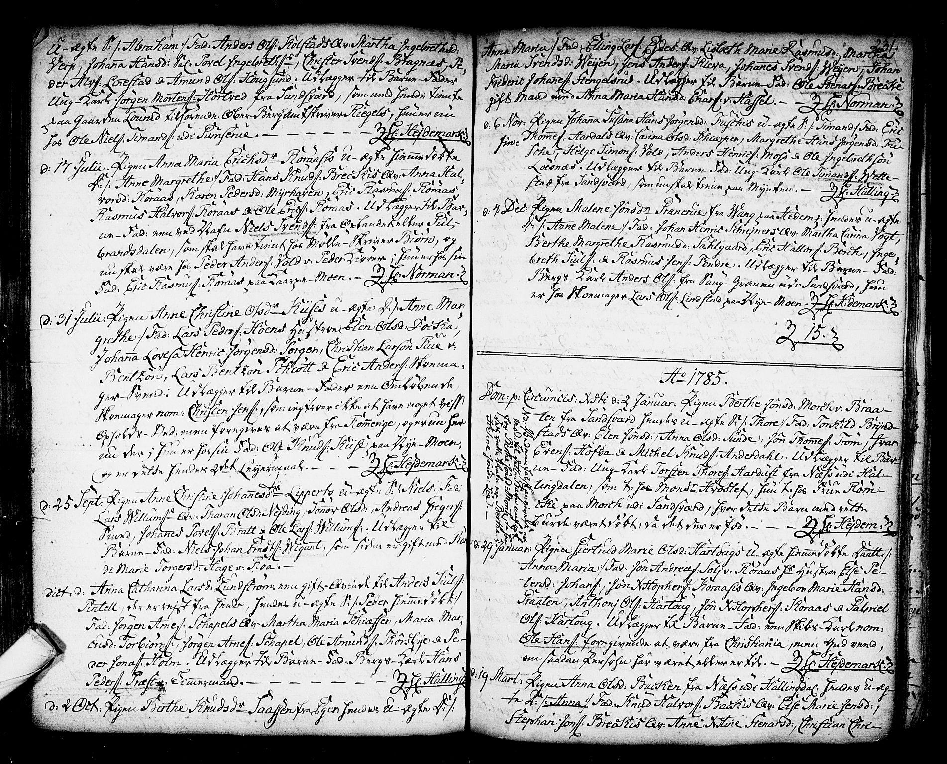 SAKO, Kongsberg kirkebøker, F/Fa/L0006: Ministerialbok nr. I 6, 1783-1797, s. 231