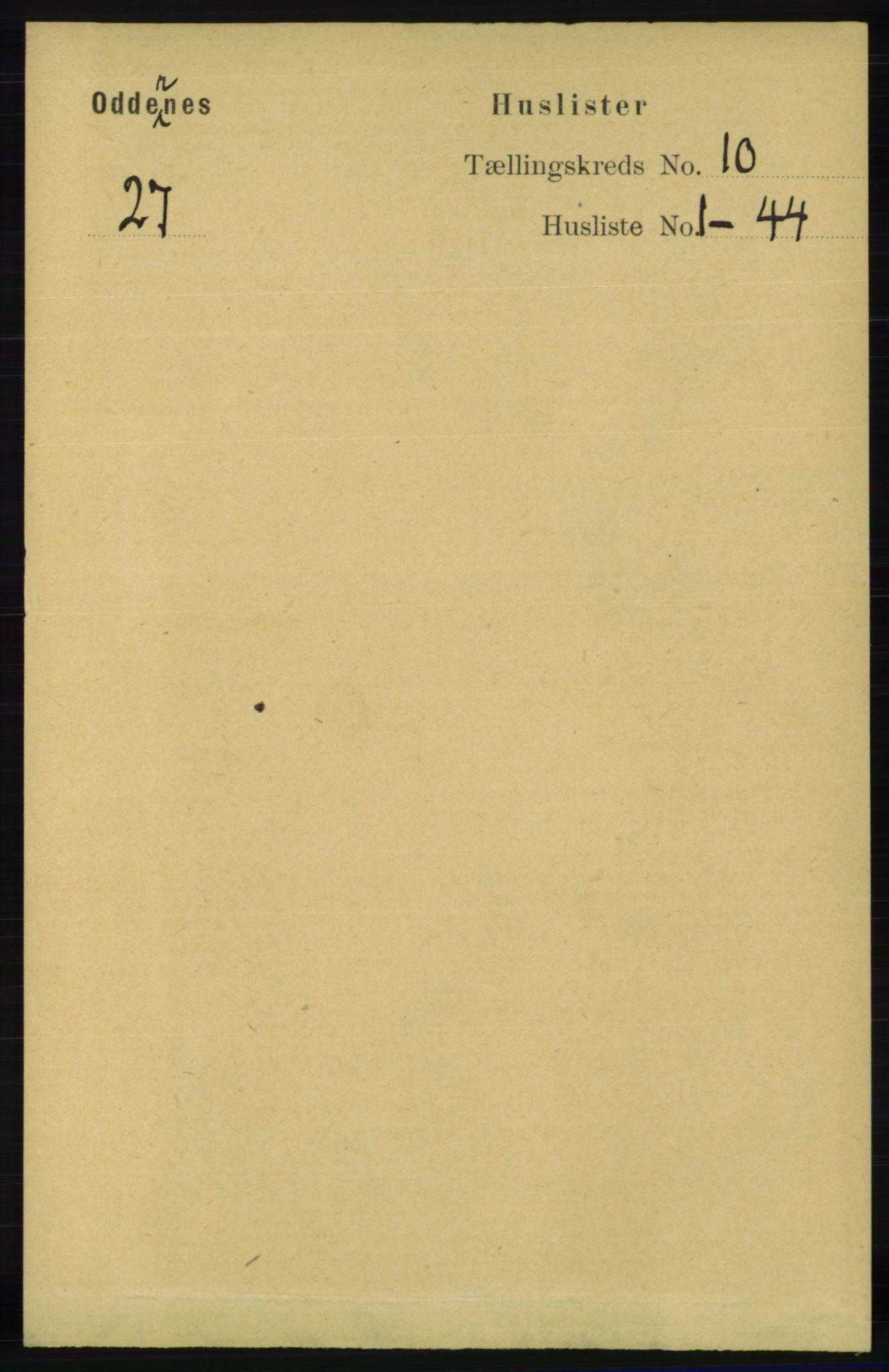 RA, Folketelling 1891 for 1012 Oddernes herred, 1891, s. 3798