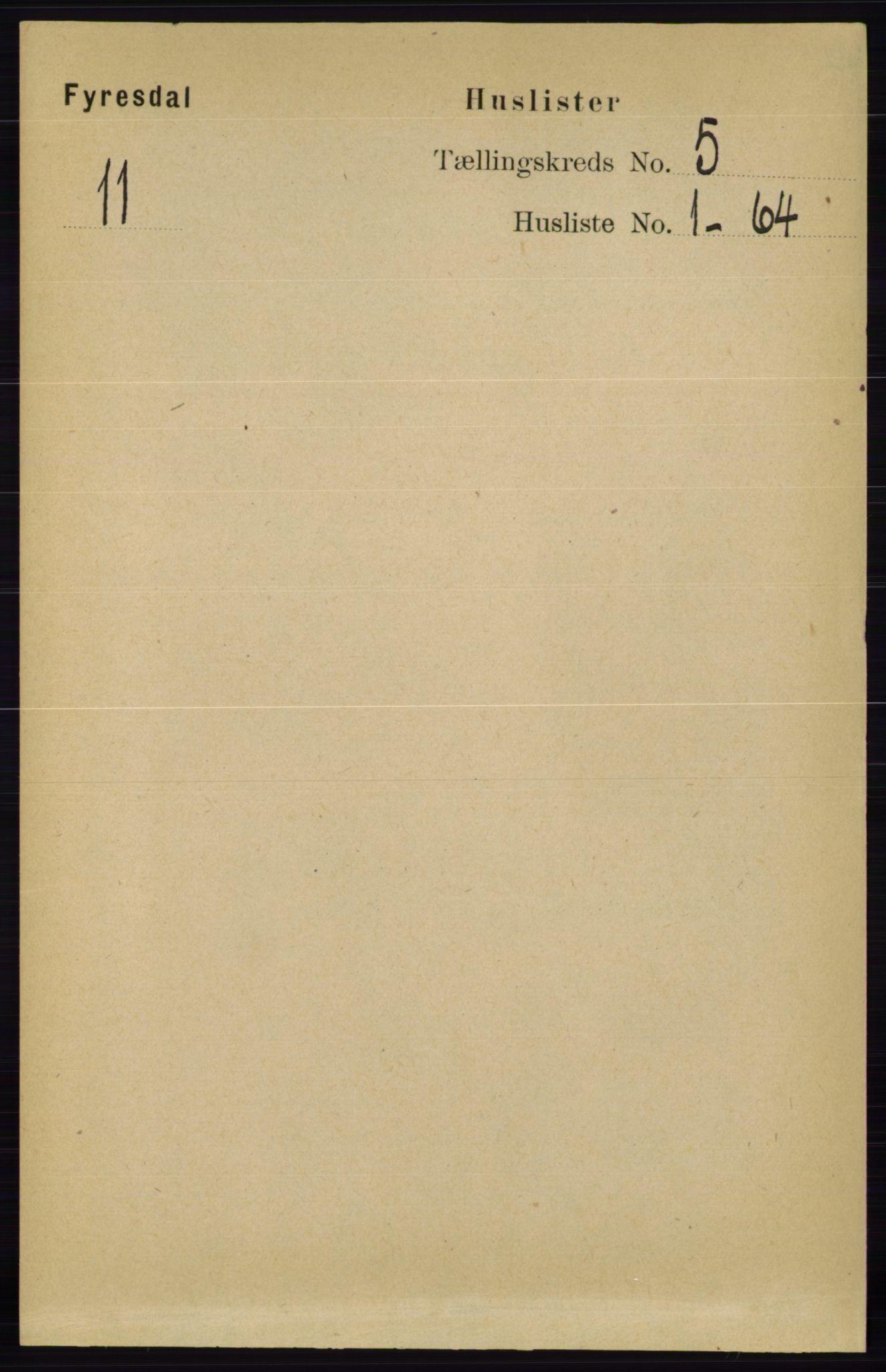 RA, Folketelling 1891 for 0831 Fyresdal herred, 1891, s. 1224