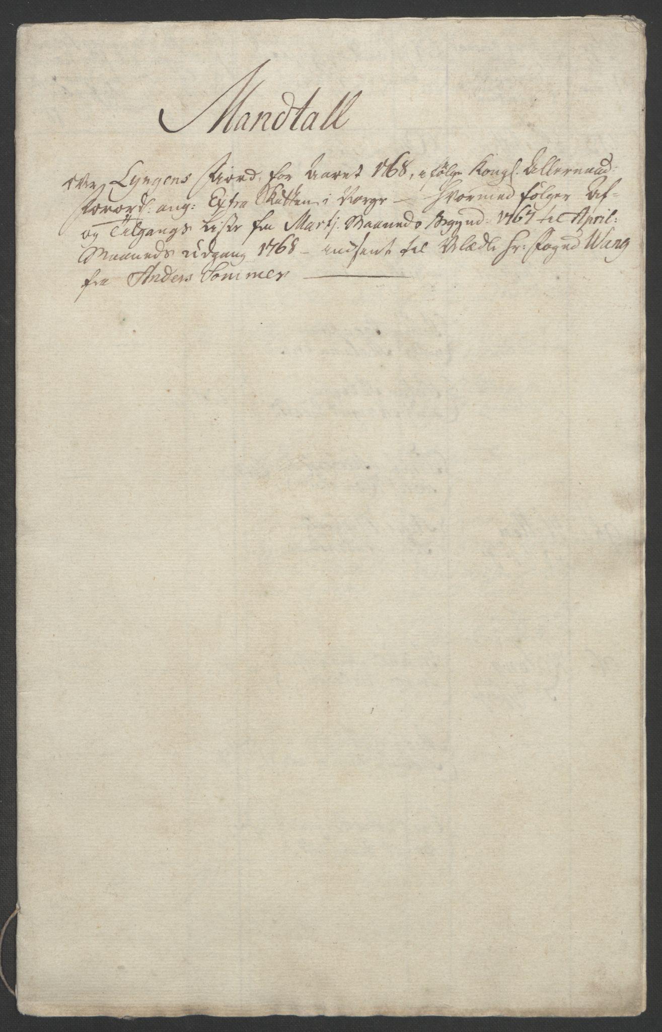 RA, Rentekammeret inntil 1814, Realistisk ordnet avdeling, Ol/L0022b: [Gg 10]: Ekstraskatten, 23.09.1762. Senja og Troms, 1765-1768, s. 322