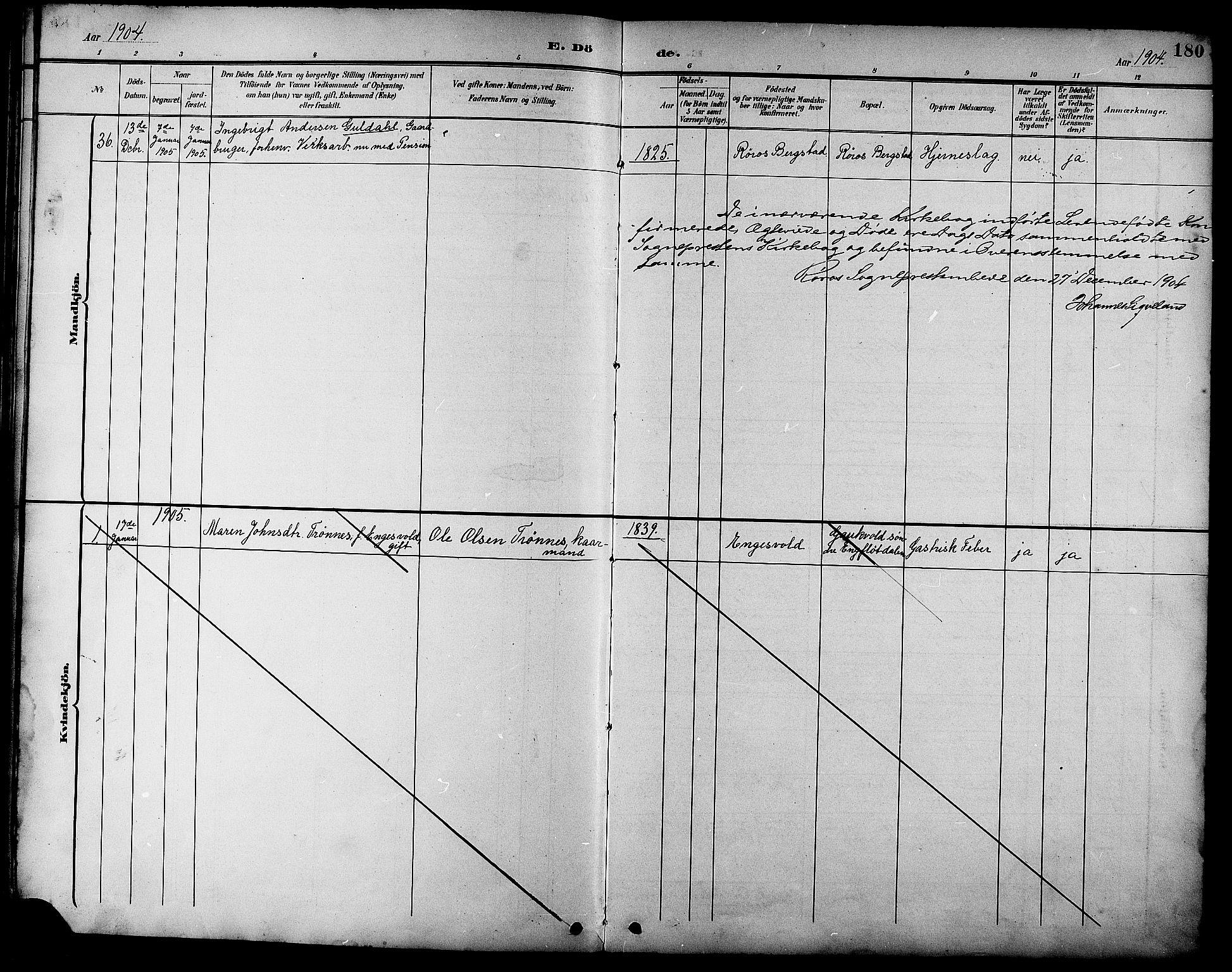 SAT, Ministerialprotokoller, klokkerbøker og fødselsregistre - Sør-Trøndelag, 681/L0941: Klokkerbok nr. 681C05, 1896-1905, s. 180