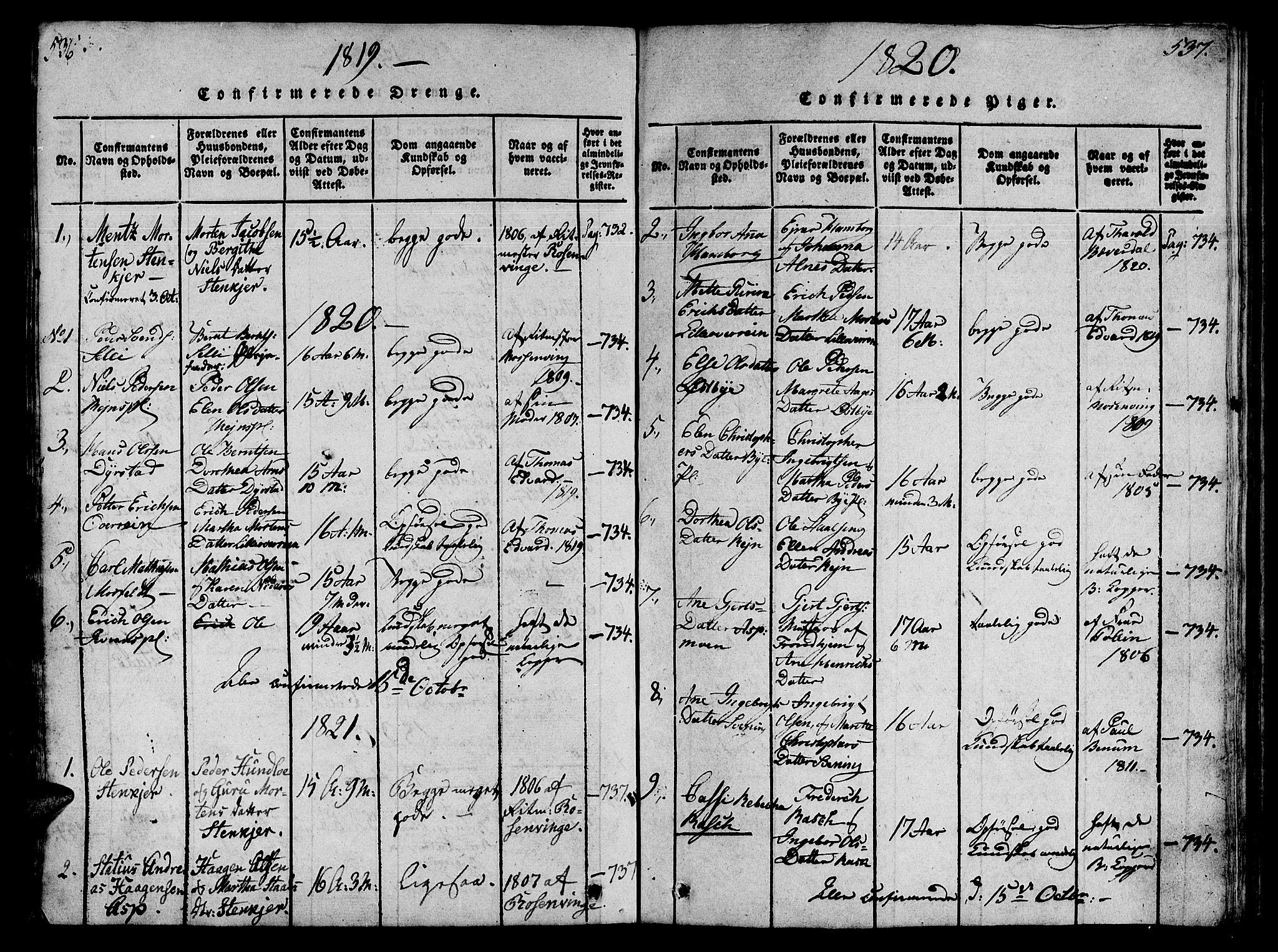 SAT, Ministerialprotokoller, klokkerbøker og fødselsregistre - Nord-Trøndelag, 746/L0441: Ministerialbok nr. 736A03 /3, 1816-1827, s. 536-537