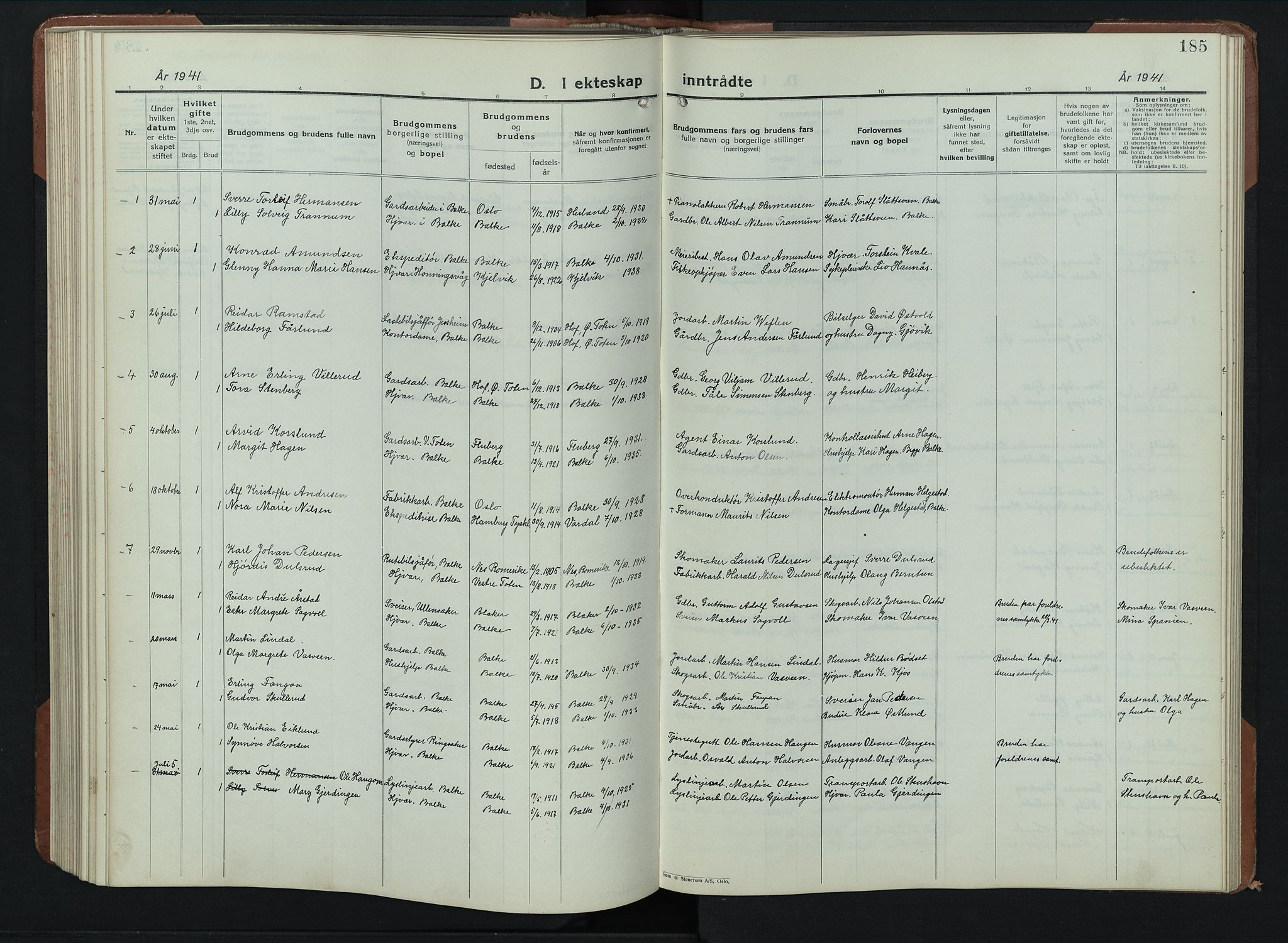 SAH, Balke prestekontor, Klokkerbok nr. 2, 1929-1951, s. 185