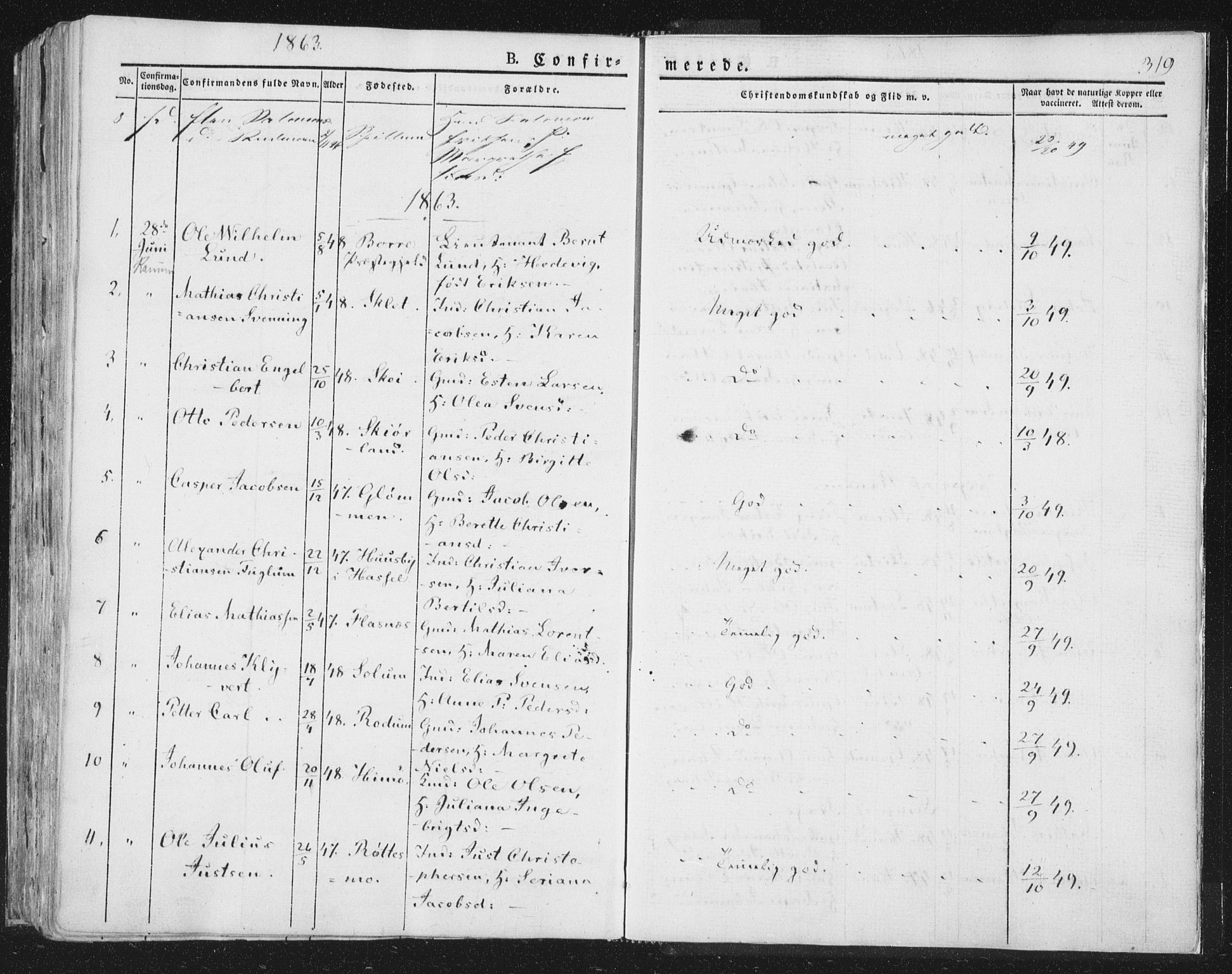 SAT, Ministerialprotokoller, klokkerbøker og fødselsregistre - Nord-Trøndelag, 764/L0551: Ministerialbok nr. 764A07a, 1824-1864, s. 319