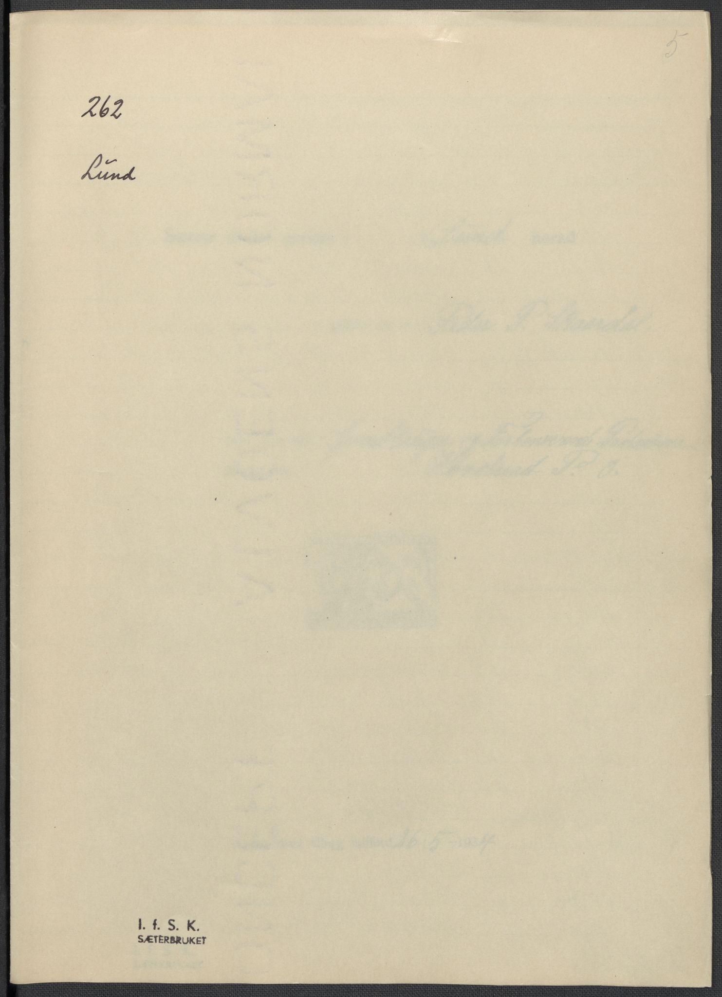 RA, Instituttet for sammenlignende kulturforskning, F/Fc/L0009: Eske B9:, 1932-1935, s. 5