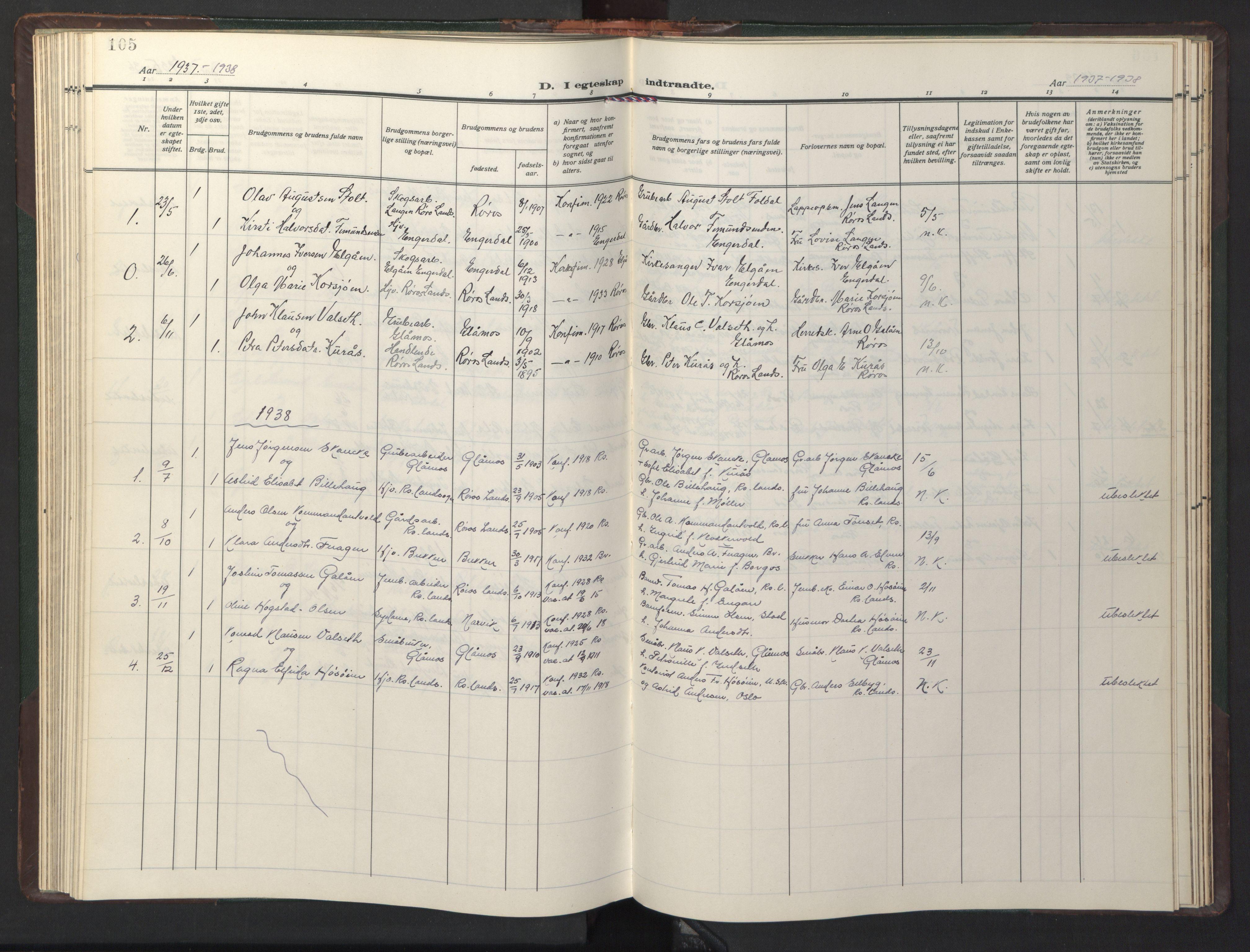 SAT, Ministerialprotokoller, klokkerbøker og fødselsregistre - Sør-Trøndelag, 681/L0944: Klokkerbok nr. 681C08, 1926-1954, s. 105