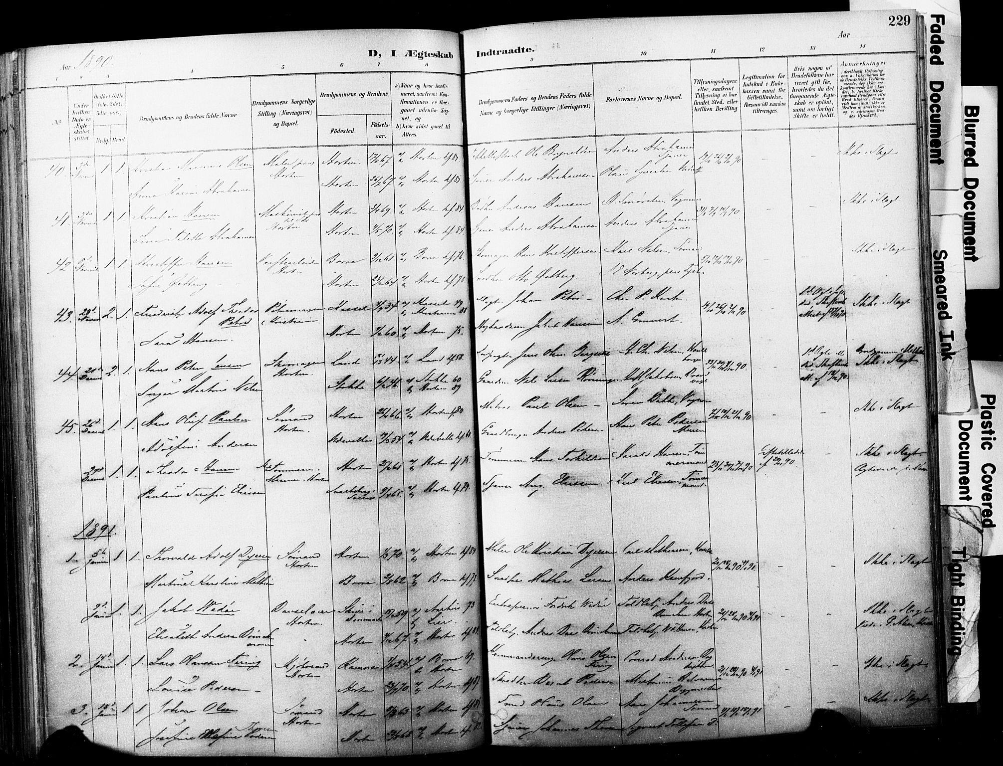 SAKO, Horten kirkebøker, F/Fa/L0004: Ministerialbok nr. 4, 1888-1895, s. 229