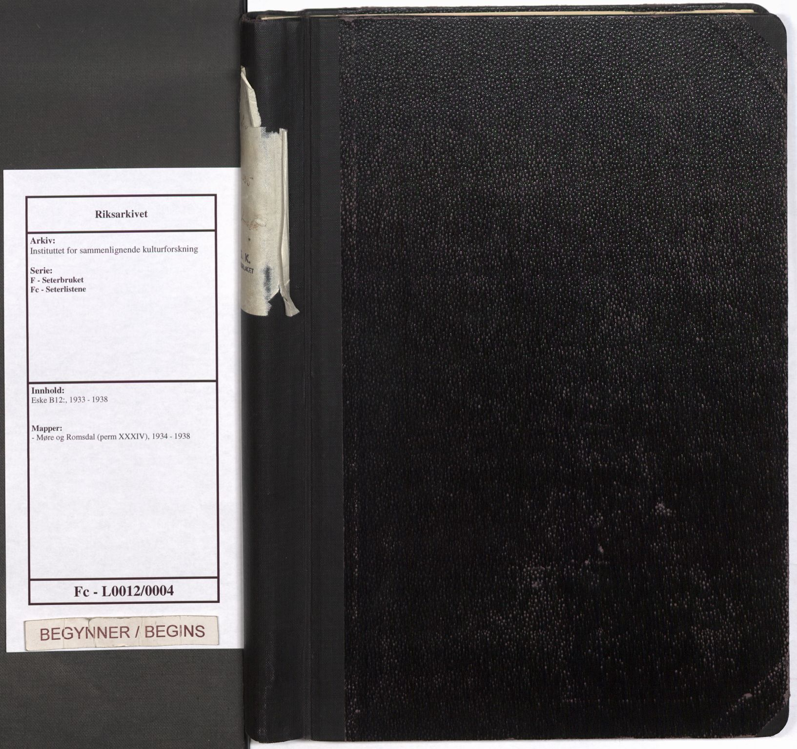 RA, Instituttet for sammenlignende kulturforskning, F/Fc/L0012: Eske B12:, 1934-1938, s. upaginert