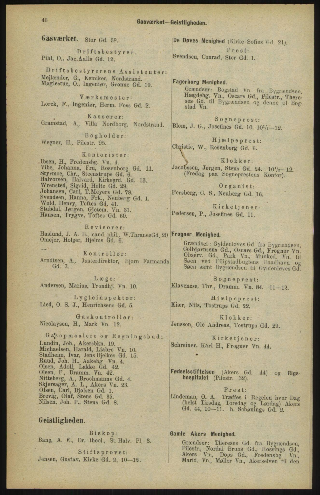 RA, Kristiania adressebok (publikasjon)*, 1904, s. 46