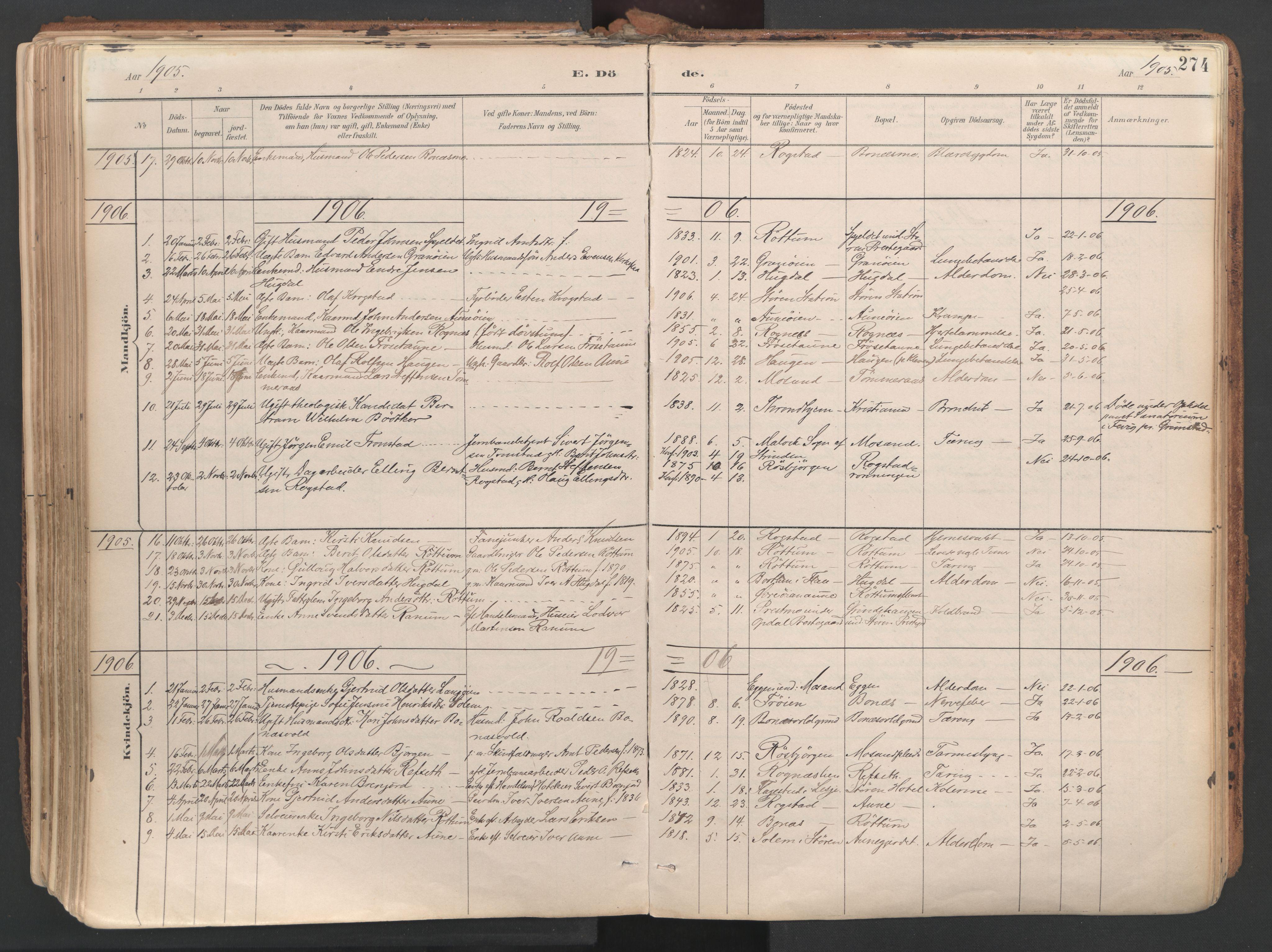SAT, Ministerialprotokoller, klokkerbøker og fødselsregistre - Sør-Trøndelag, 687/L1004: Ministerialbok nr. 687A10, 1891-1923, s. 274