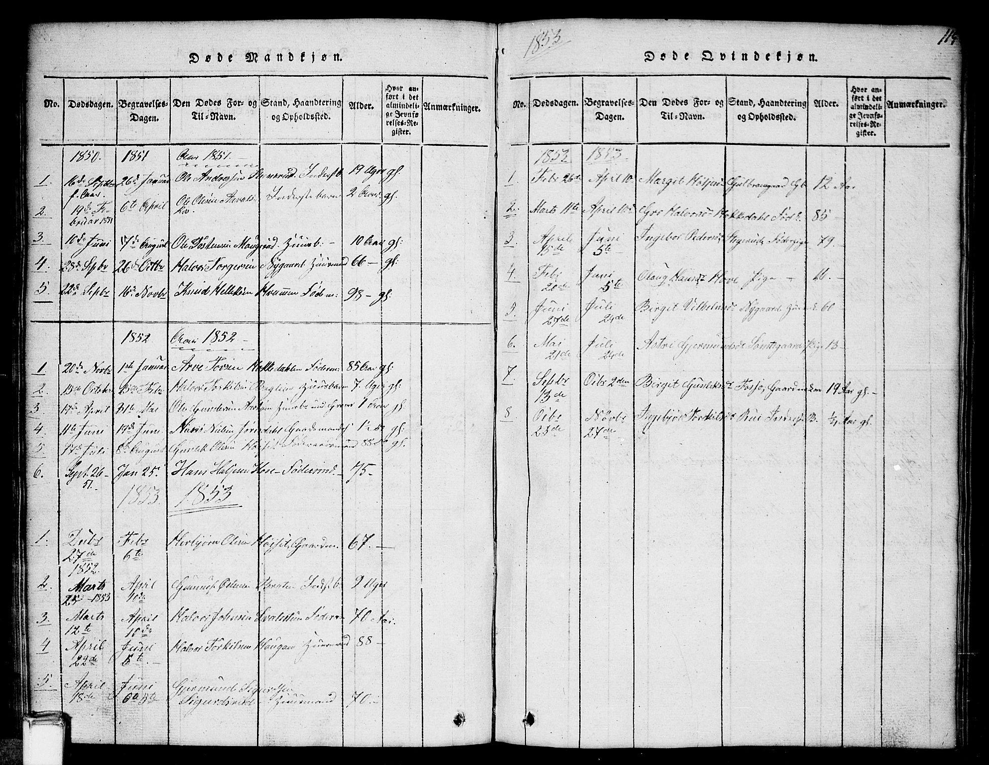 SAKO, Gransherad kirkebøker, G/Gb/L0001: Klokkerbok nr. II 1, 1815-1860, s. 115