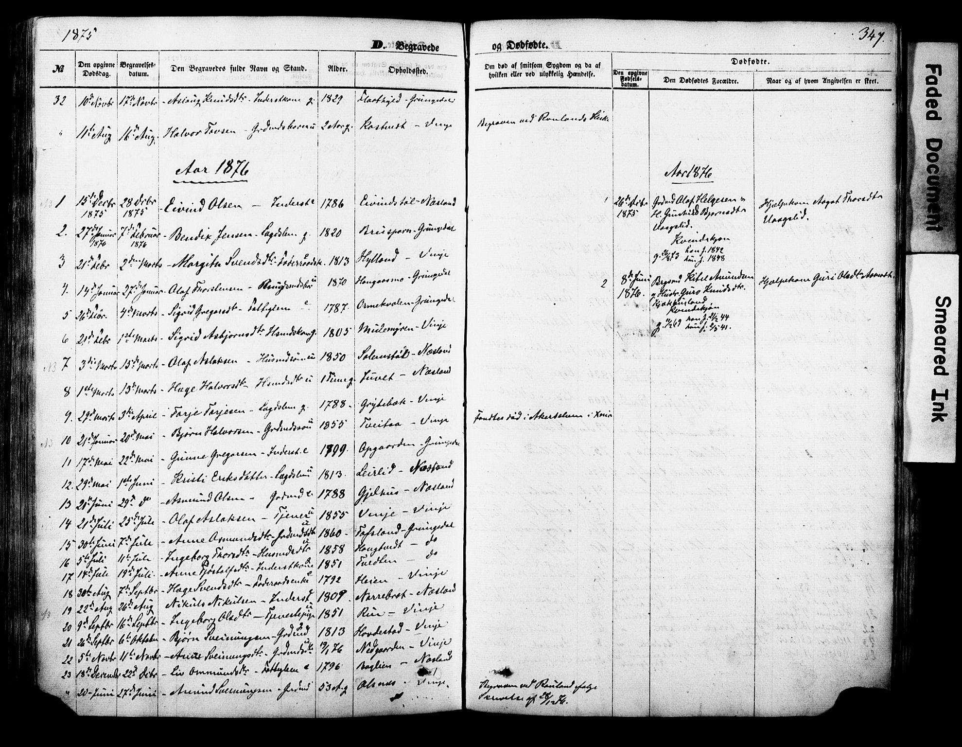 SAKO, Vinje kirkebøker, F/Fa/L0005: Ministerialbok nr. I 5, 1870-1886, s. 347