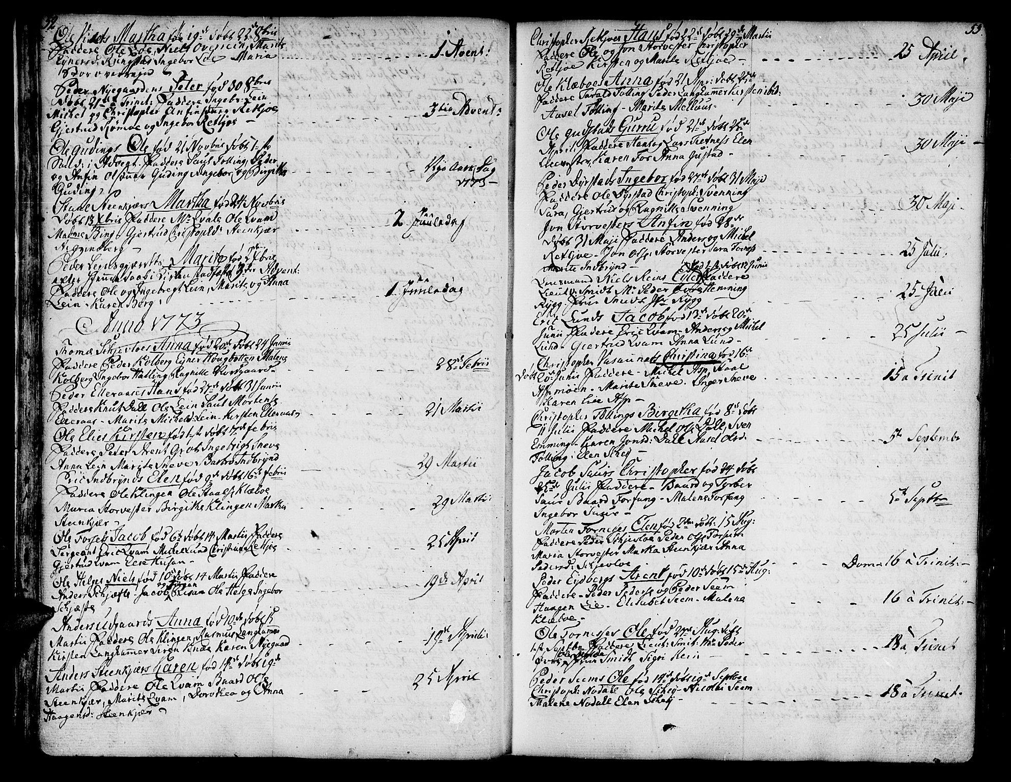 SAT, Ministerialprotokoller, klokkerbøker og fødselsregistre - Nord-Trøndelag, 746/L0440: Ministerialbok nr. 746A02, 1760-1815, s. 52-53