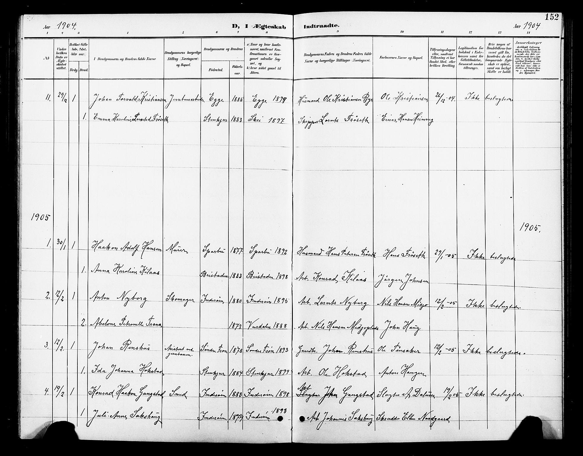 SAT, Ministerialprotokoller, klokkerbøker og fødselsregistre - Nord-Trøndelag, 739/L0375: Klokkerbok nr. 739C03, 1898-1908, s. 152