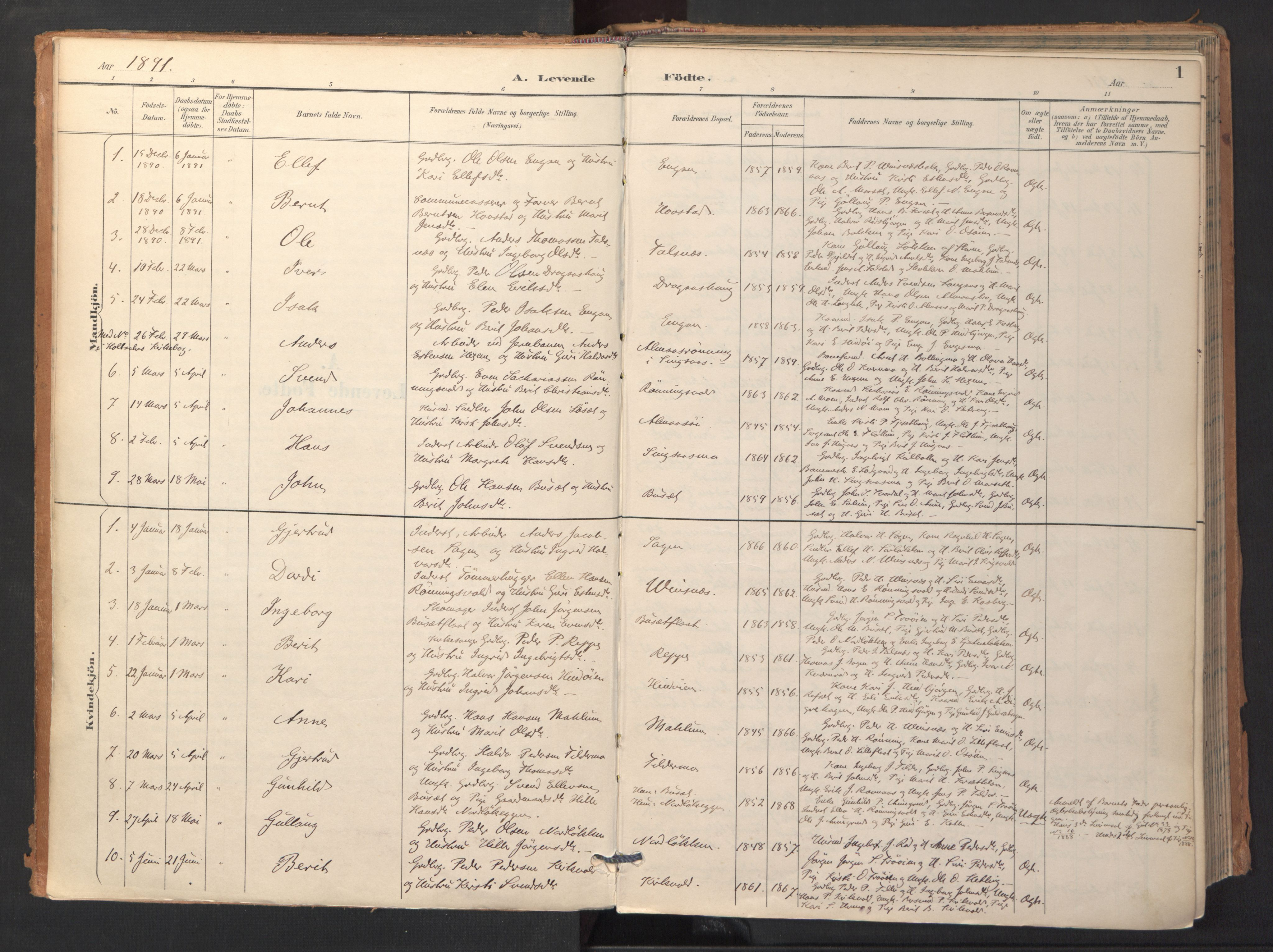 SAT, Ministerialprotokoller, klokkerbøker og fødselsregistre - Sør-Trøndelag, 688/L1025: Ministerialbok nr. 688A02, 1891-1909, s. 1