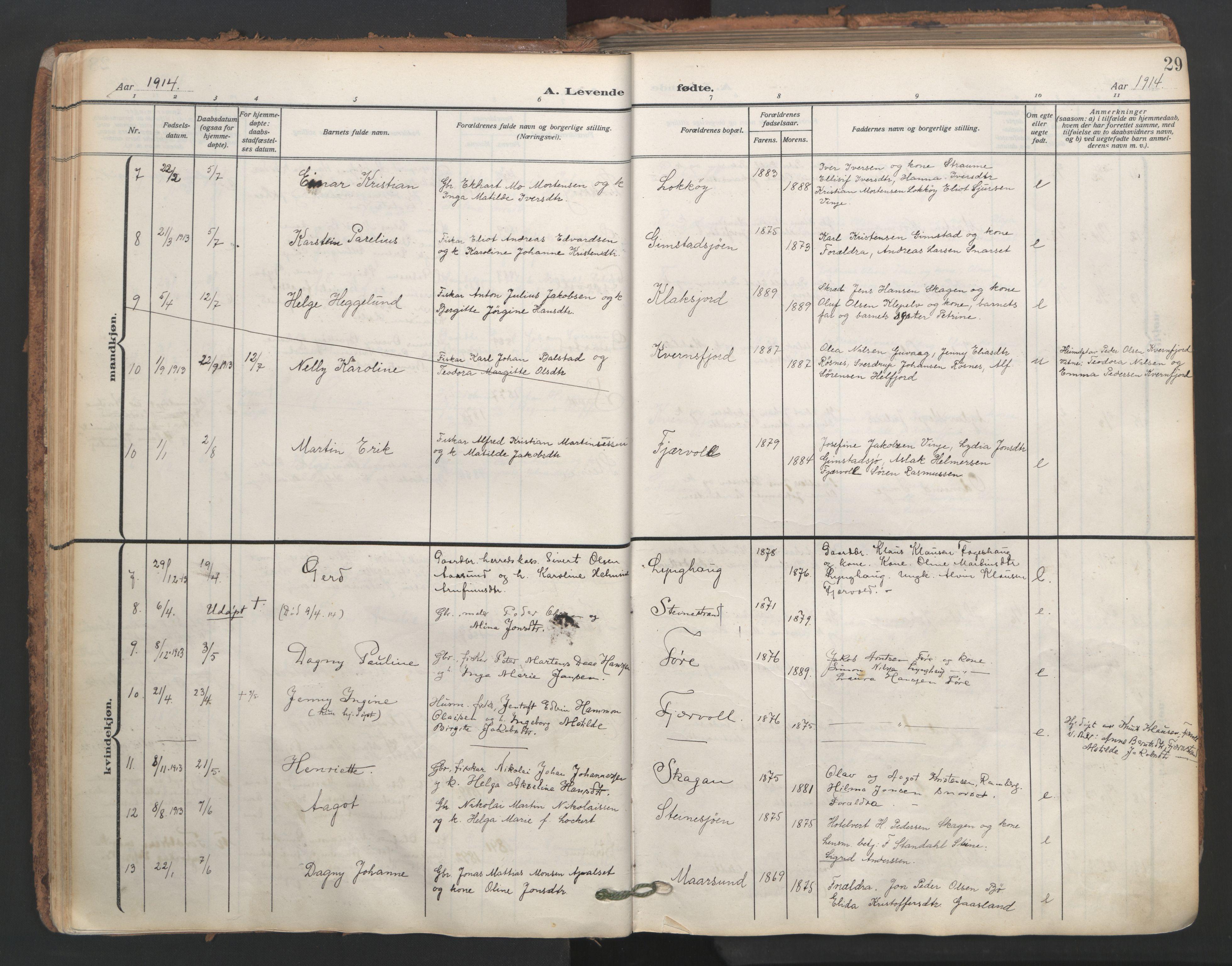 SAT, Ministerialprotokoller, klokkerbøker og fødselsregistre - Nordland, 891/L1306: Ministerialbok nr. 891A11, 1911-1927, s. 29