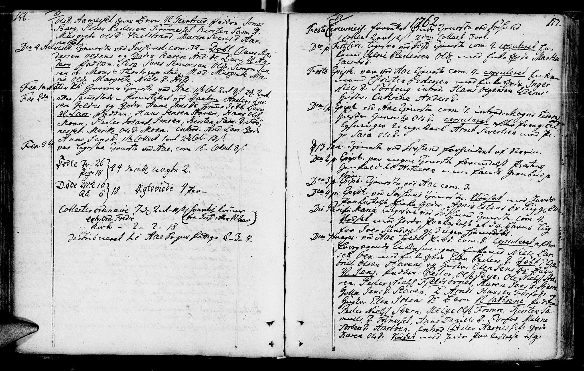 SAT, Ministerialprotokoller, klokkerbøker og fødselsregistre - Sør-Trøndelag, 655/L0672: Ministerialbok nr. 655A01, 1750-1779, s. 156-157
