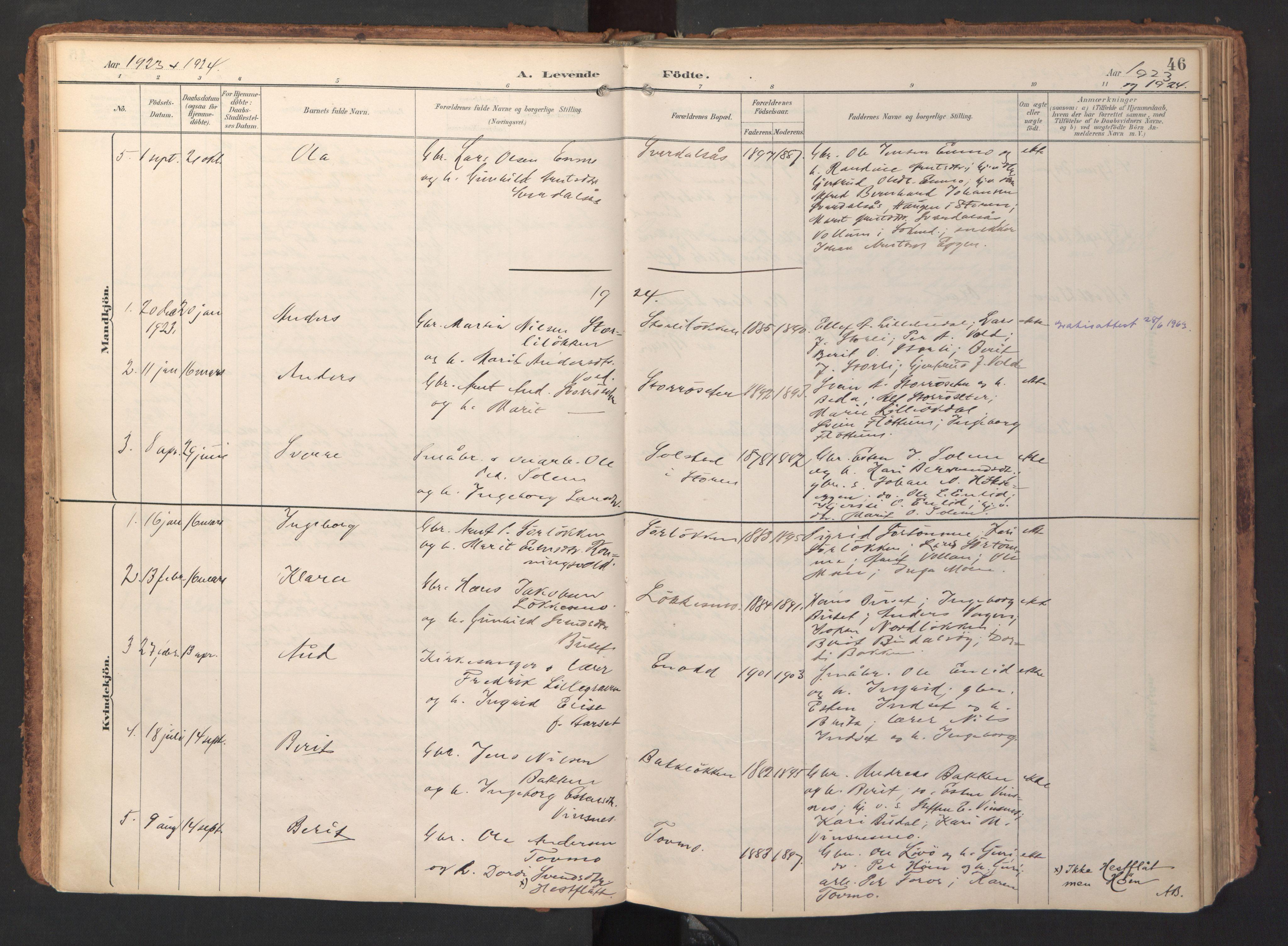 SAT, Ministerialprotokoller, klokkerbøker og fødselsregistre - Sør-Trøndelag, 690/L1050: Ministerialbok nr. 690A01, 1889-1929, s. 46