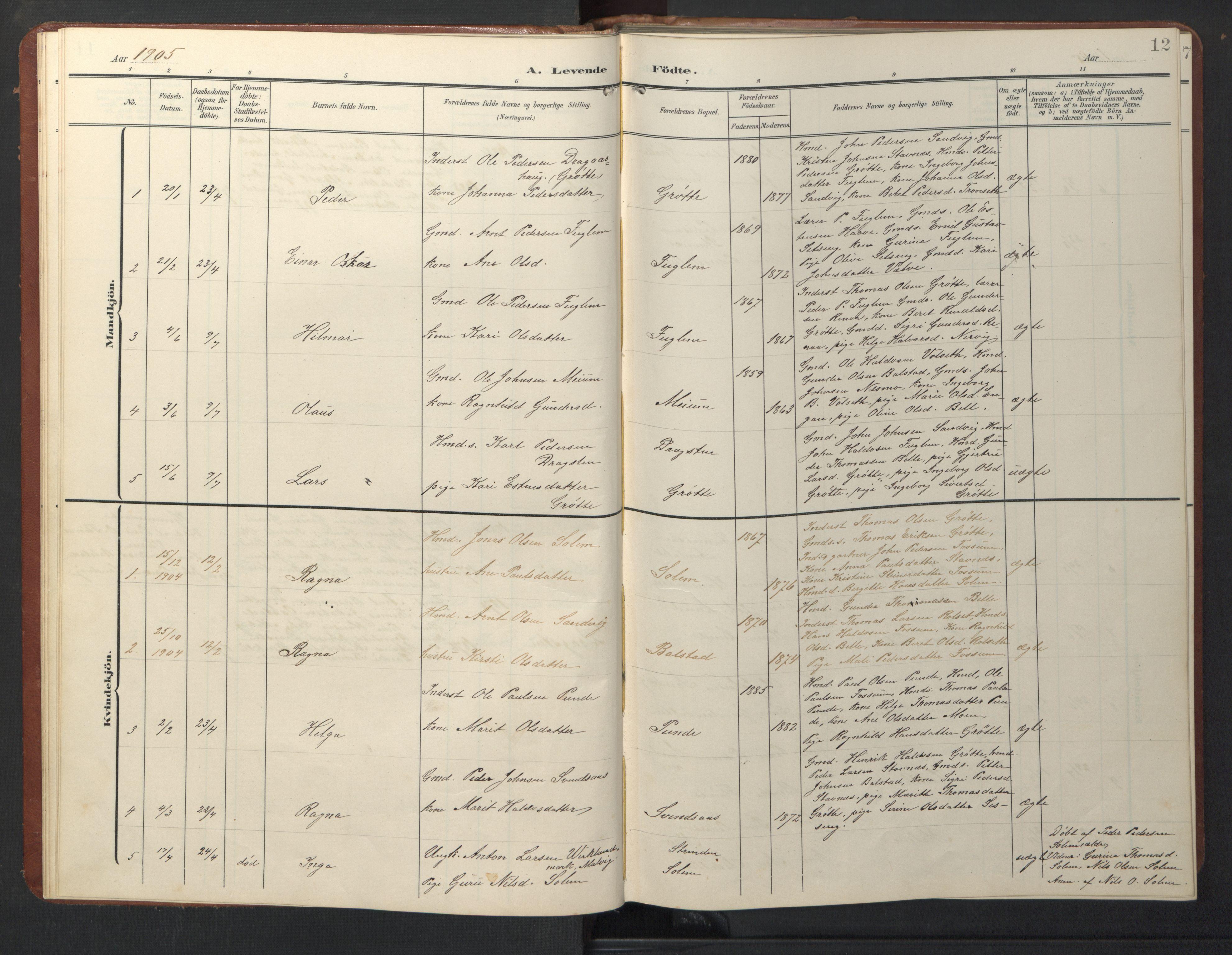 SAT, Ministerialprotokoller, klokkerbøker og fødselsregistre - Sør-Trøndelag, 696/L1161: Klokkerbok nr. 696C01, 1902-1950, s. 12