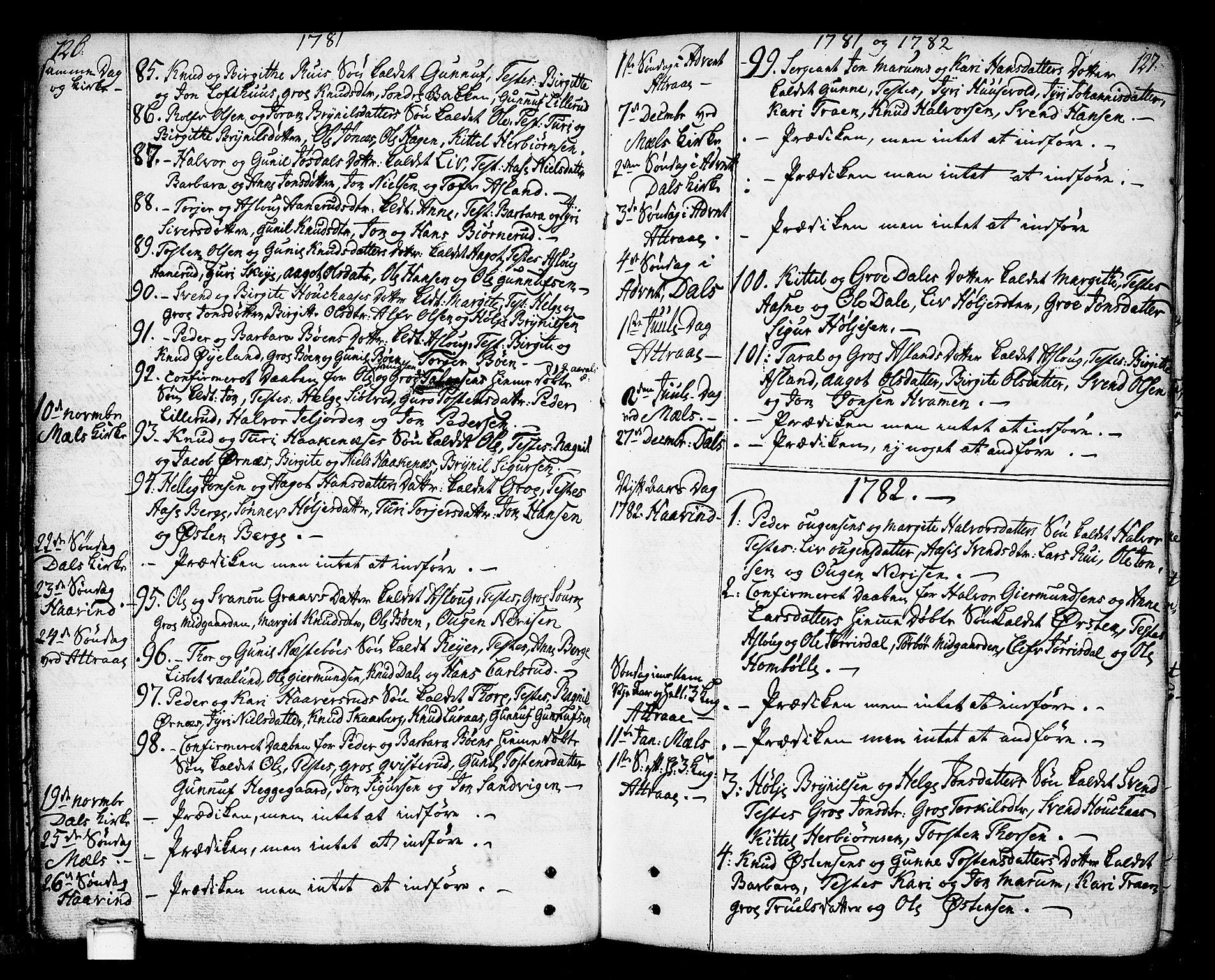 SAKO, Tinn kirkebøker, F/Fa/L0002: Ministerialbok nr. I 2, 1757-1810, s. 126-127