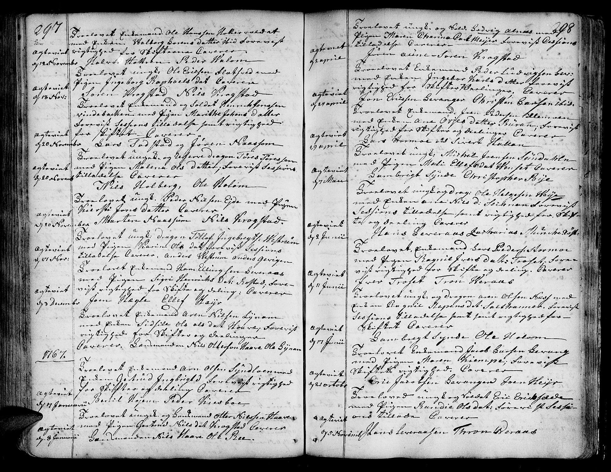 SAT, Ministerialprotokoller, klokkerbøker og fødselsregistre - Nord-Trøndelag, 717/L0141: Ministerialbok nr. 717A01, 1747-1803, s. 297-298