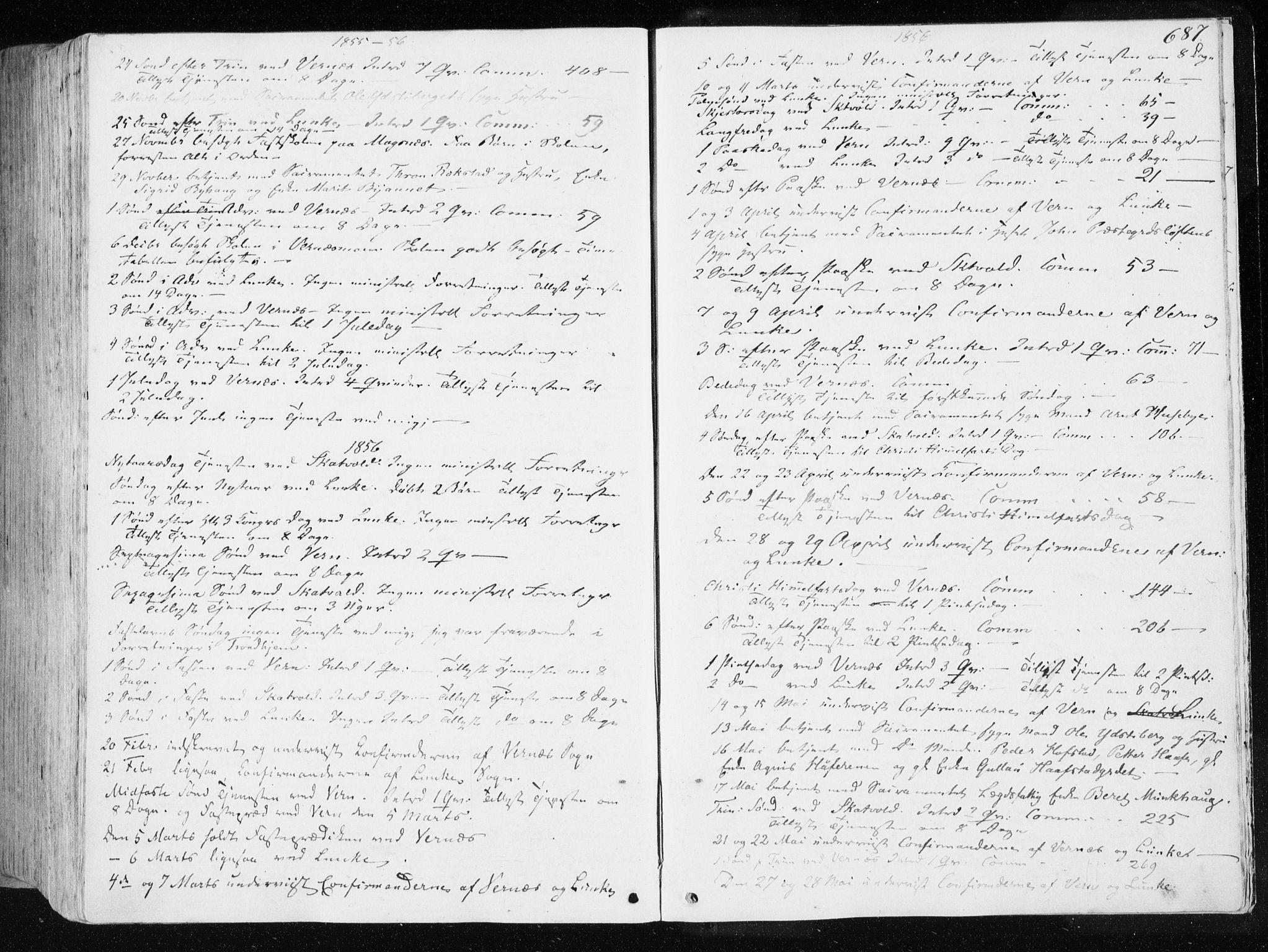 SAT, Ministerialprotokoller, klokkerbøker og fødselsregistre - Nord-Trøndelag, 709/L0074: Ministerialbok nr. 709A14, 1845-1858, s. 687