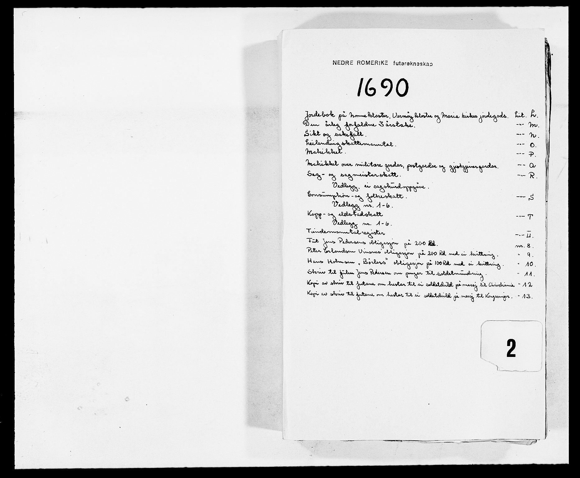 RA, Rentekammeret inntil 1814, Reviderte regnskaper, Fogderegnskap, R11/L0574: Fogderegnskap Nedre Romerike, 1689-1690, s. 245