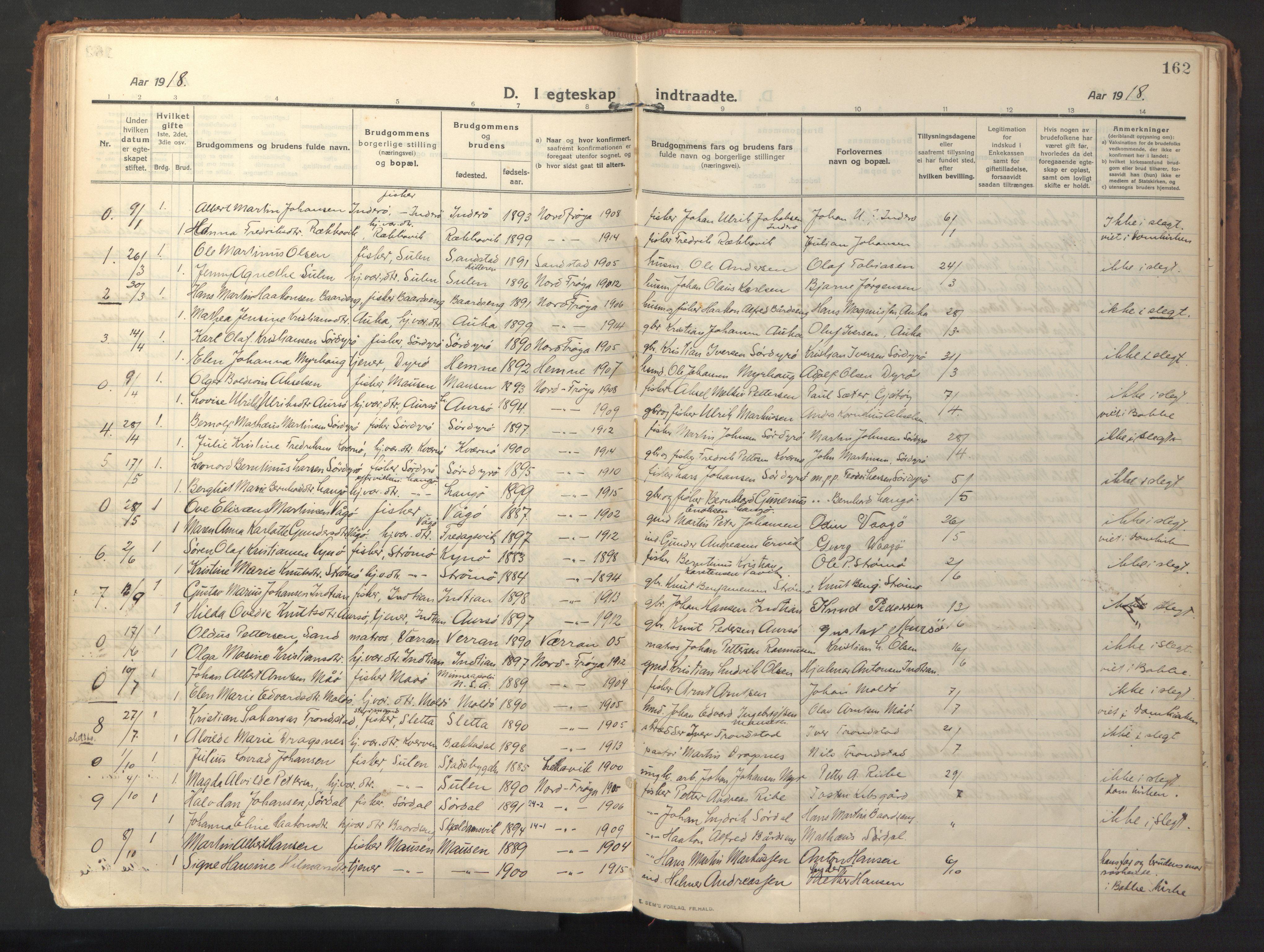 SAT, Ministerialprotokoller, klokkerbøker og fødselsregistre - Sør-Trøndelag, 640/L0581: Ministerialbok nr. 640A06, 1910-1924, s. 162