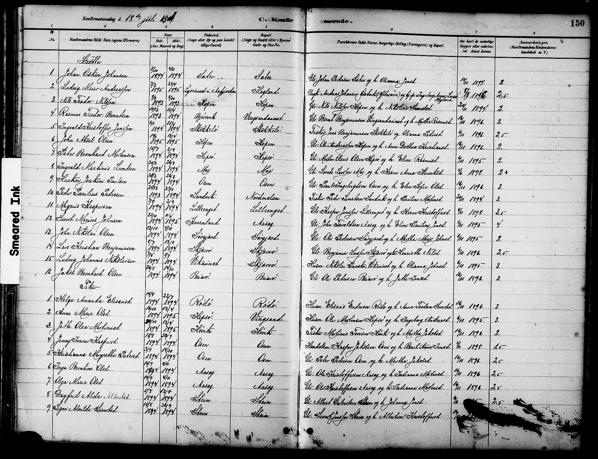 SAT, Ministerialprotokoller, klokkerbøker og fødselsregistre - Sør-Trøndelag, 658/L0726: Klokkerbok nr. 658C02, 1883-1908, s. 150