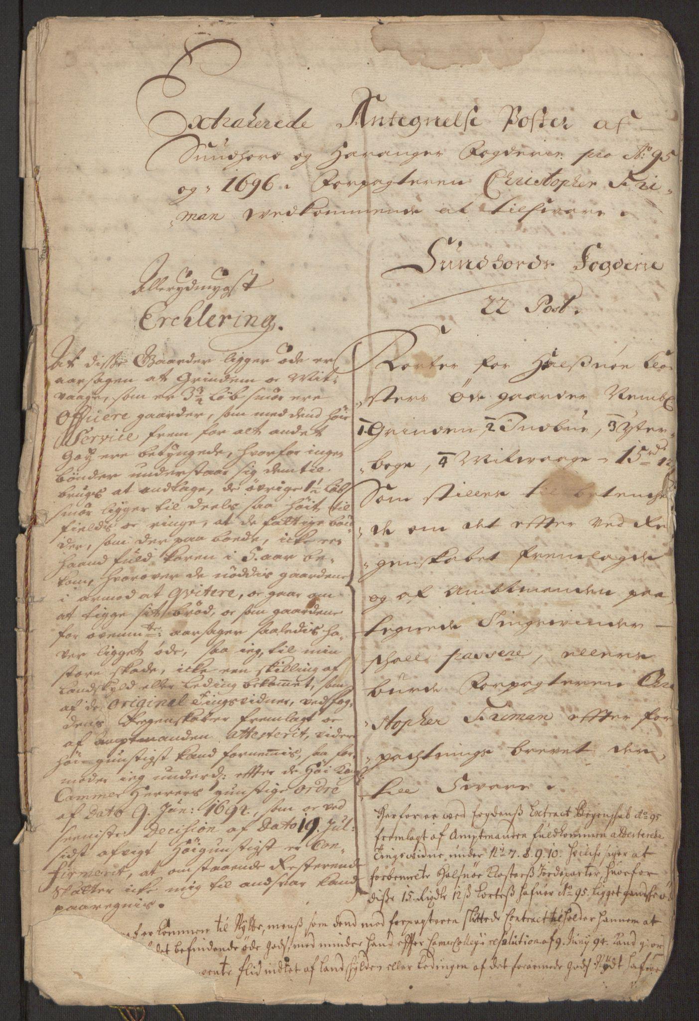 RA, Rentekammeret inntil 1814, Reviderte regnskaper, Fogderegnskap, R48/L2976: Fogderegnskap Sunnhordland og Hardanger, 1695-1696, s. 481