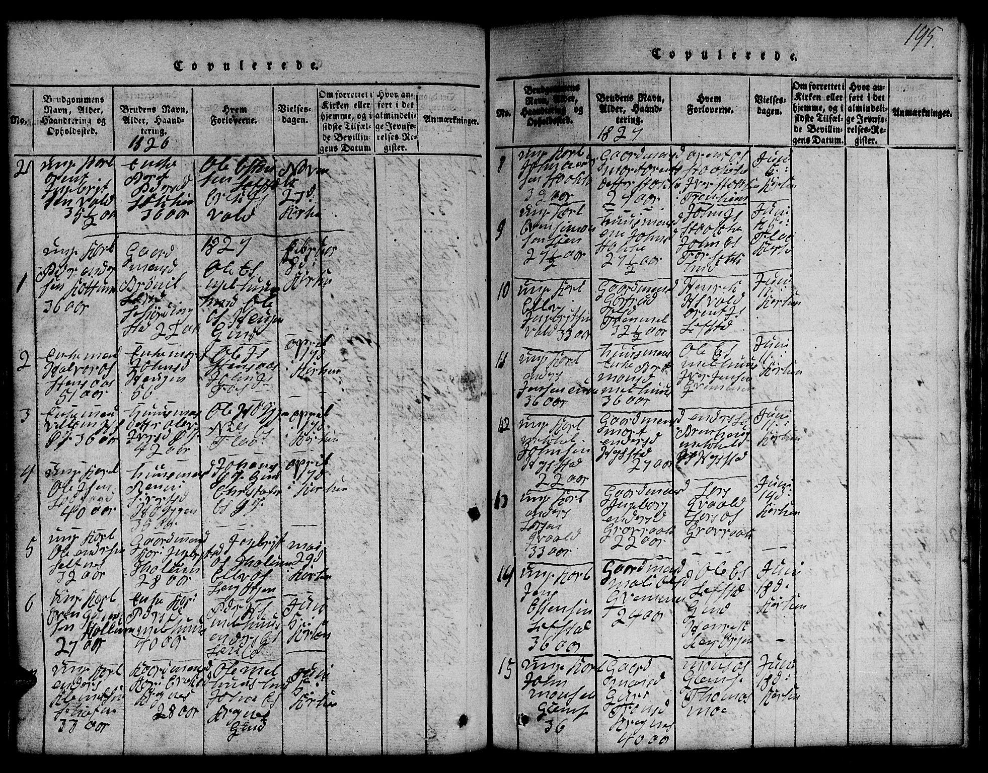 SAT, Ministerialprotokoller, klokkerbøker og fødselsregistre - Sør-Trøndelag, 691/L1092: Klokkerbok nr. 691C03, 1816-1852, s. 195