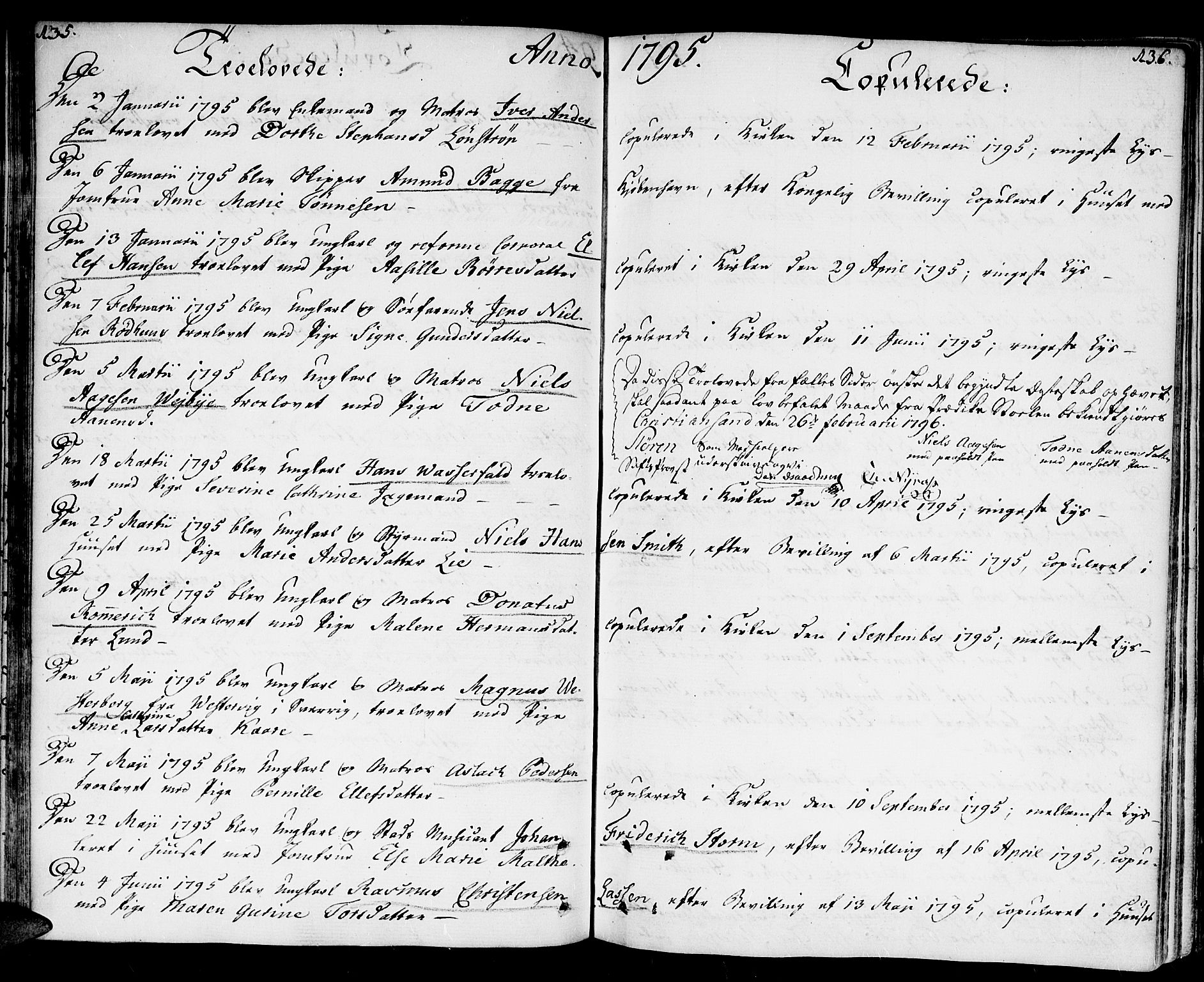 SAK, Kristiansand domprosti, F/Fa/L0005: Ministerialbok nr. A 5, 1776-1818, s. 135-136