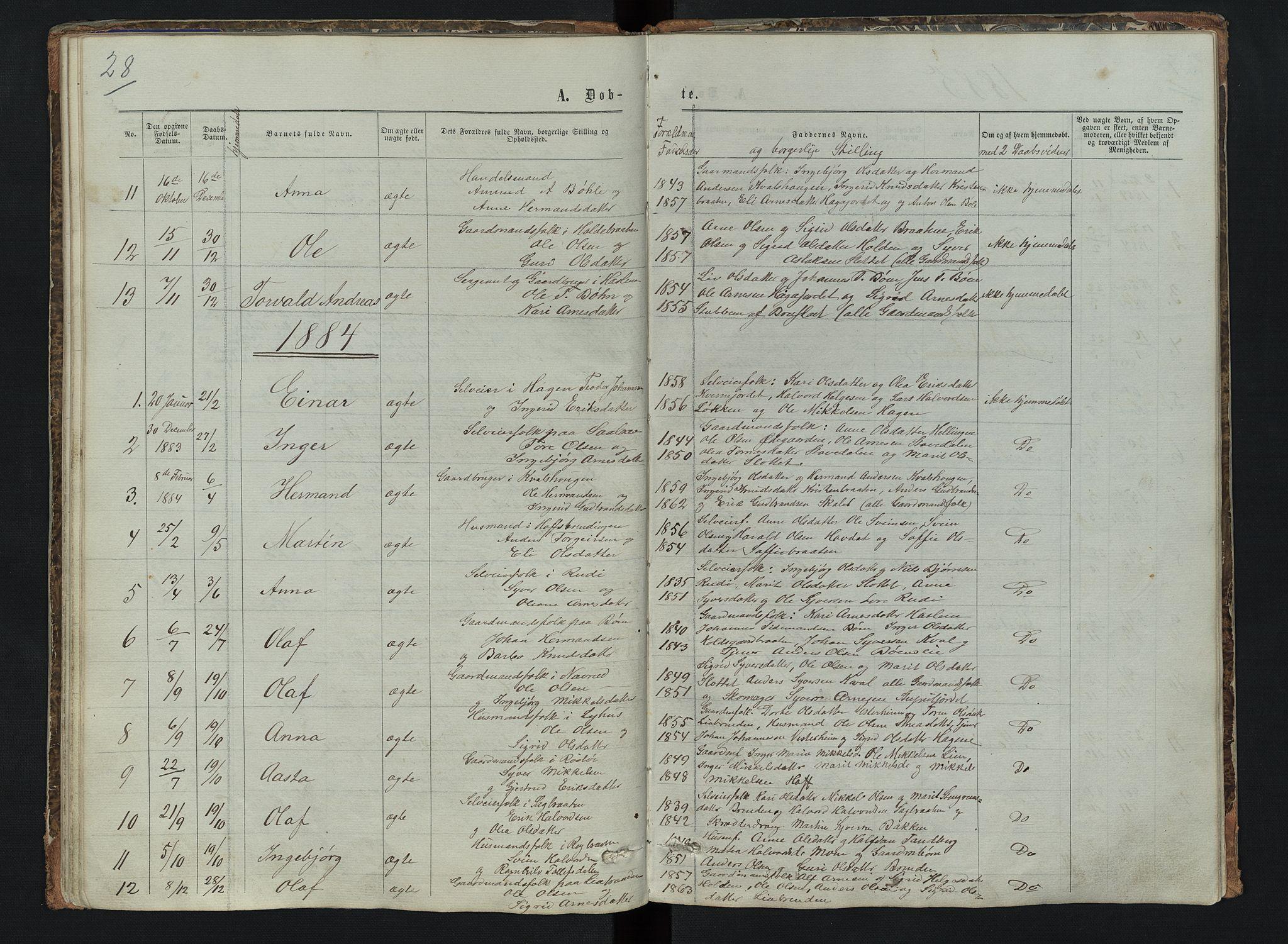 SAH, Sør-Aurdal prestekontor, Klokkerbok nr. 6, 1866-1893, s. 28