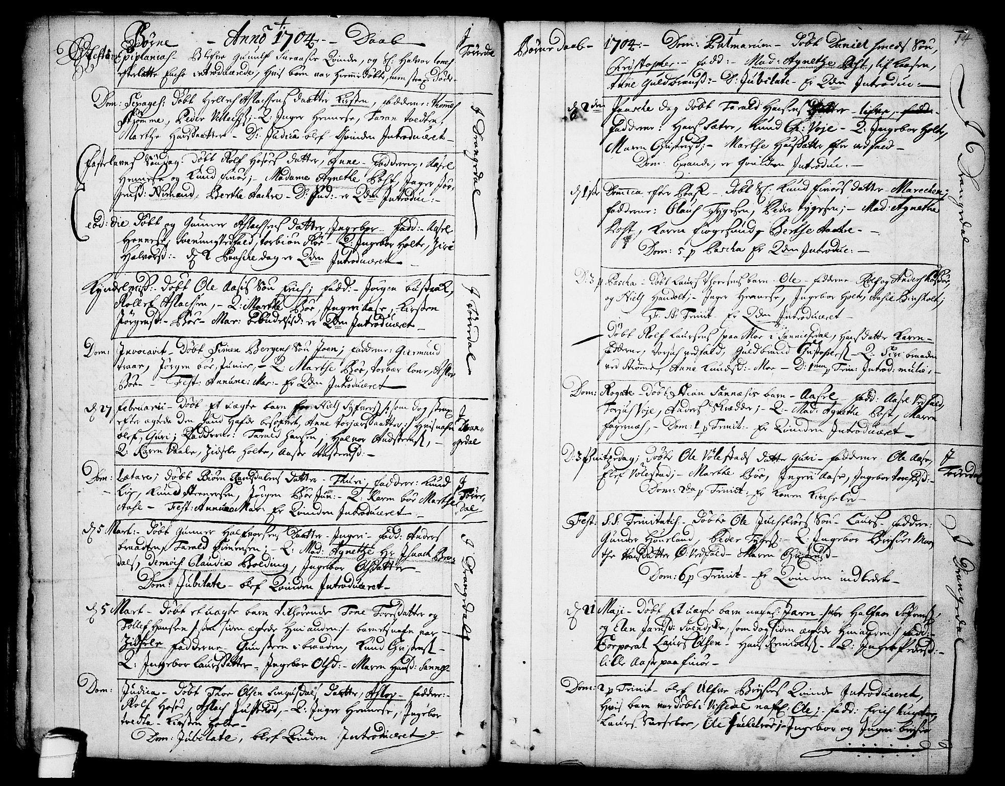 SAKO, Drangedal kirkebøker, F/Fa/L0001: Ministerialbok nr. 1, 1697-1767, s. 14
