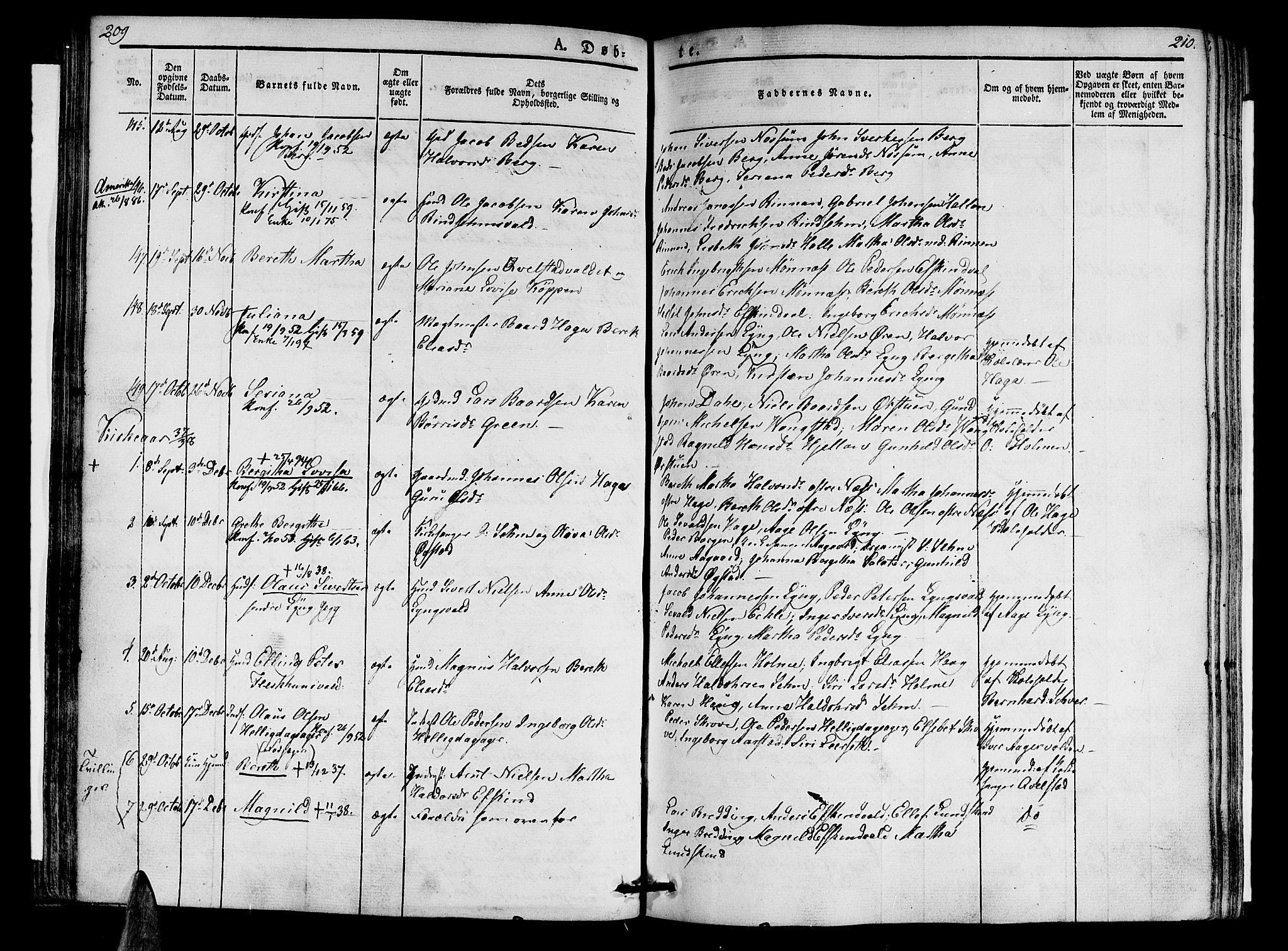 SAT, Ministerialprotokoller, klokkerbøker og fødselsregistre - Nord-Trøndelag, 723/L0238: Ministerialbok nr. 723A07, 1831-1840, s. 209-210