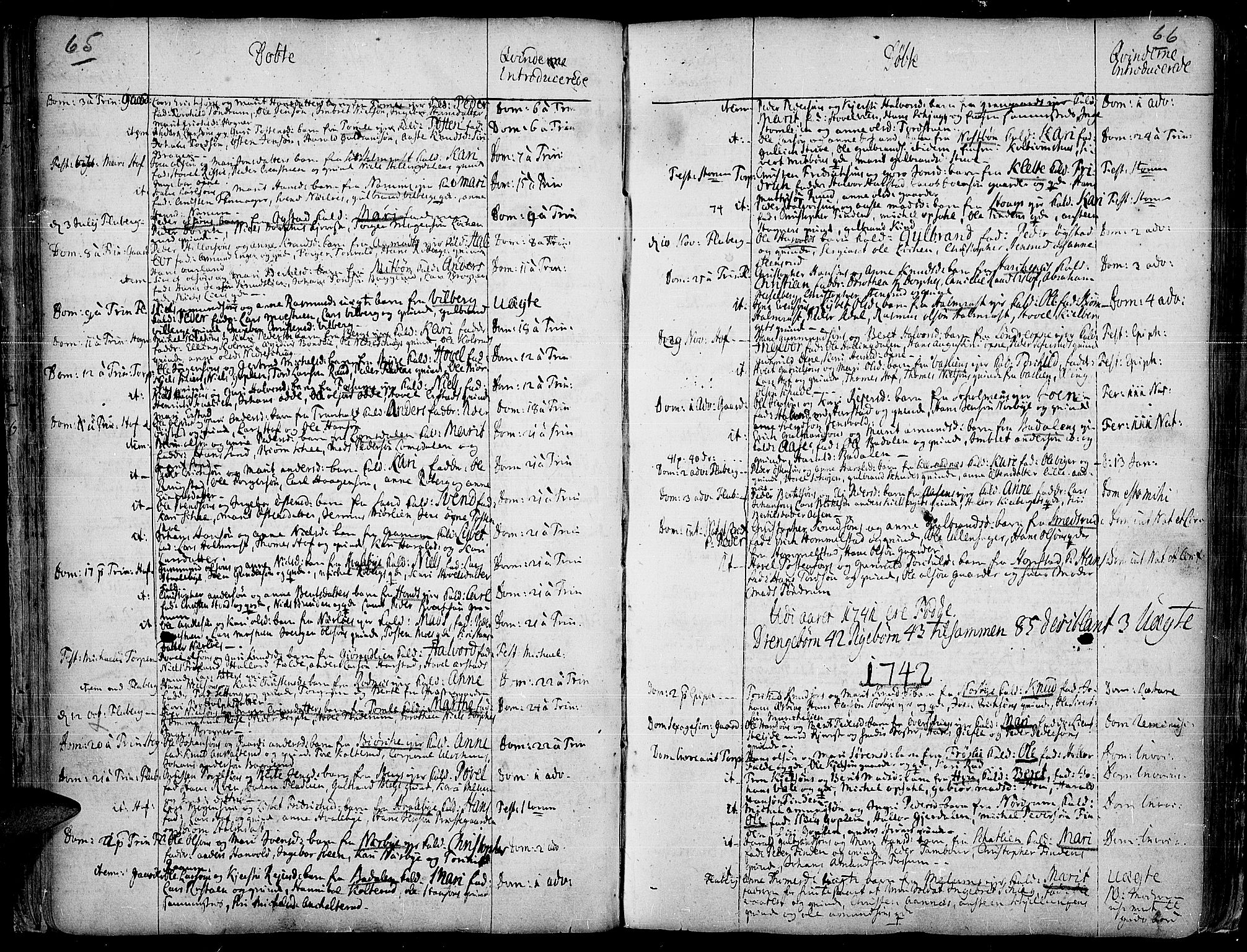 SAH, Land prestekontor, Ministerialbok nr. 2, 1733-1764, s. 65-66