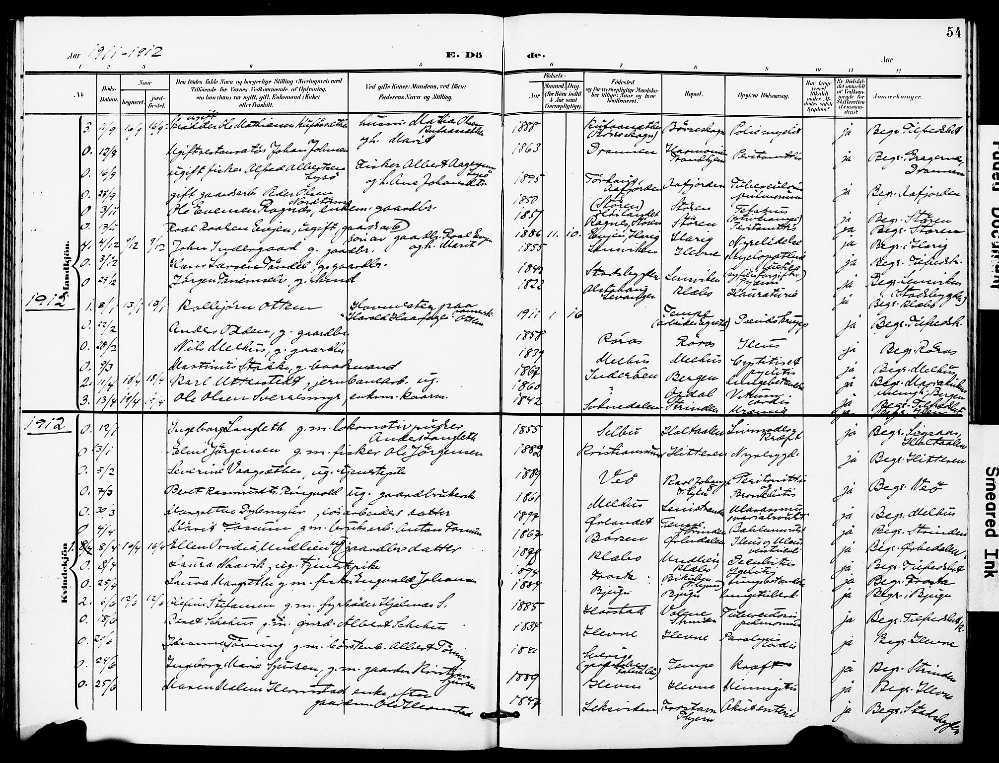 SAT, Ministerialprotokoller, klokkerbøker og fødselsregistre - Sør-Trøndelag, 628/L0483: Ministerialbok nr. 628A01, 1902-1920, s. 54