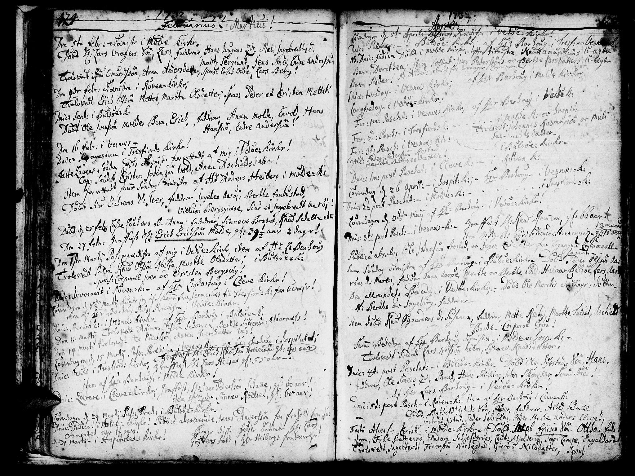 SAT, Ministerialprotokoller, klokkerbøker og fødselsregistre - Møre og Romsdal, 547/L0599: Ministerialbok nr. 547A01, 1721-1764, s. 126-127