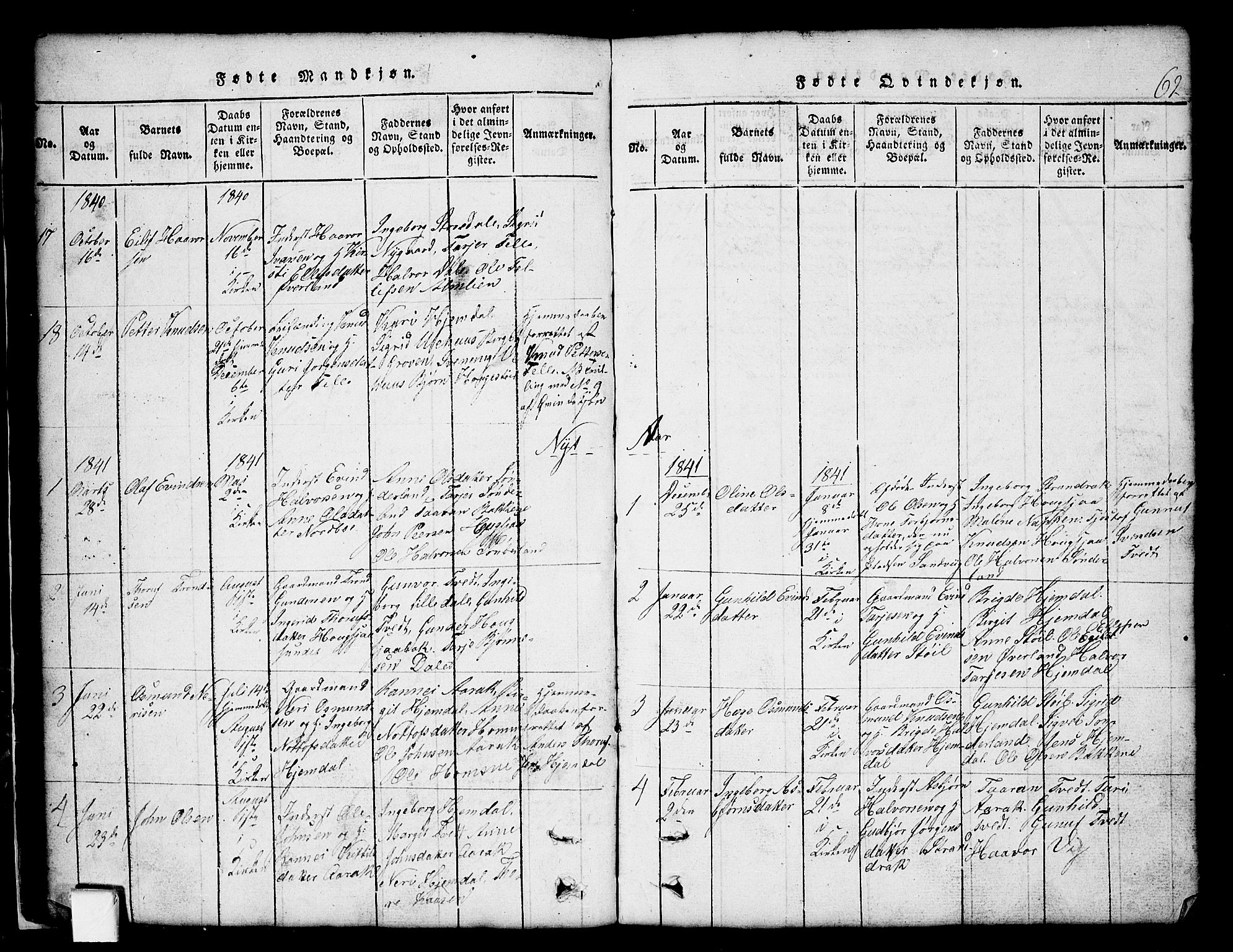 SAKO, Nissedal kirkebøker, G/Gb/L0001: Klokkerbok nr. II 1, 1814-1862, s. 62