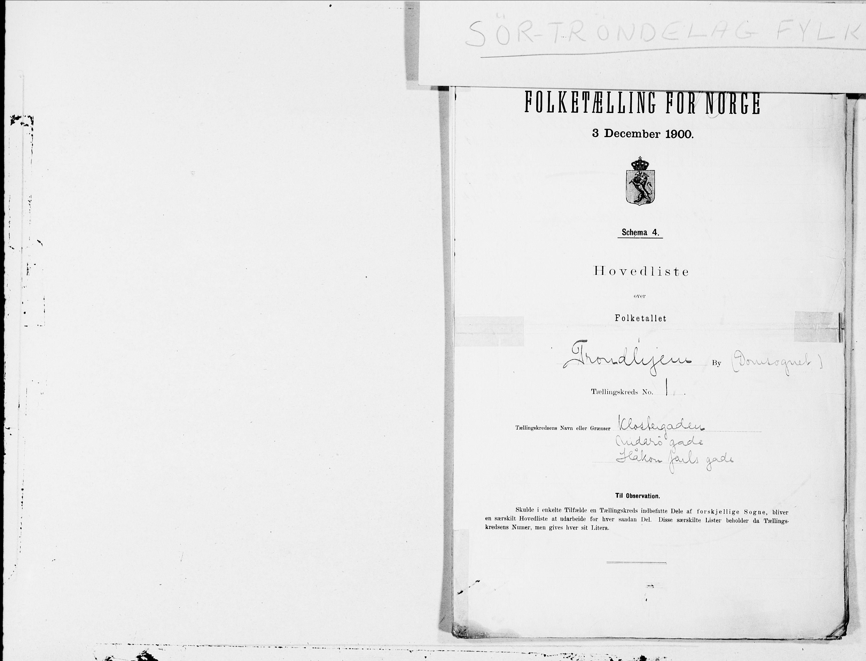 SAT, Folketelling 1900 for 1601 Trondheim kjøpstad, 1900, s. 1