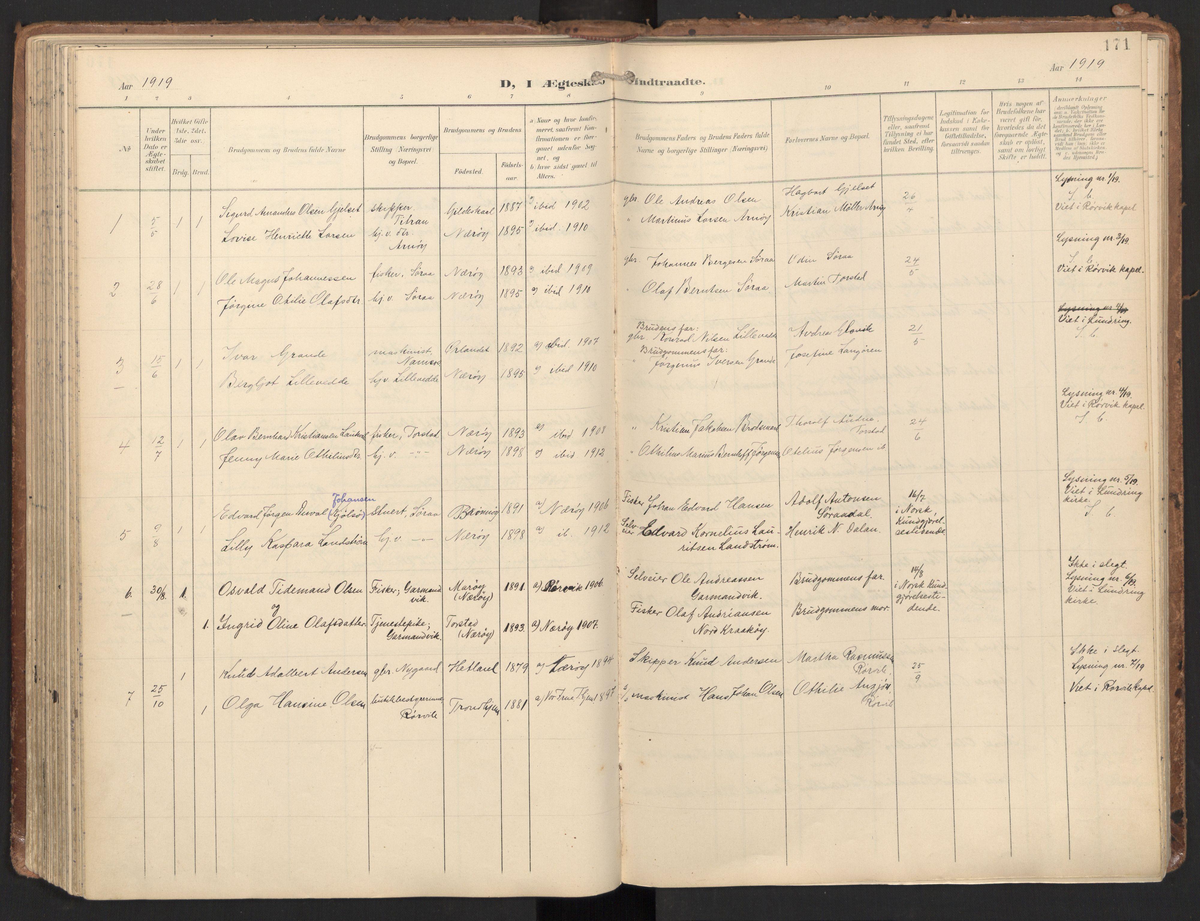 SAT, Ministerialprotokoller, klokkerbøker og fødselsregistre - Nord-Trøndelag, 784/L0677: Ministerialbok nr. 784A12, 1900-1920, s. 171