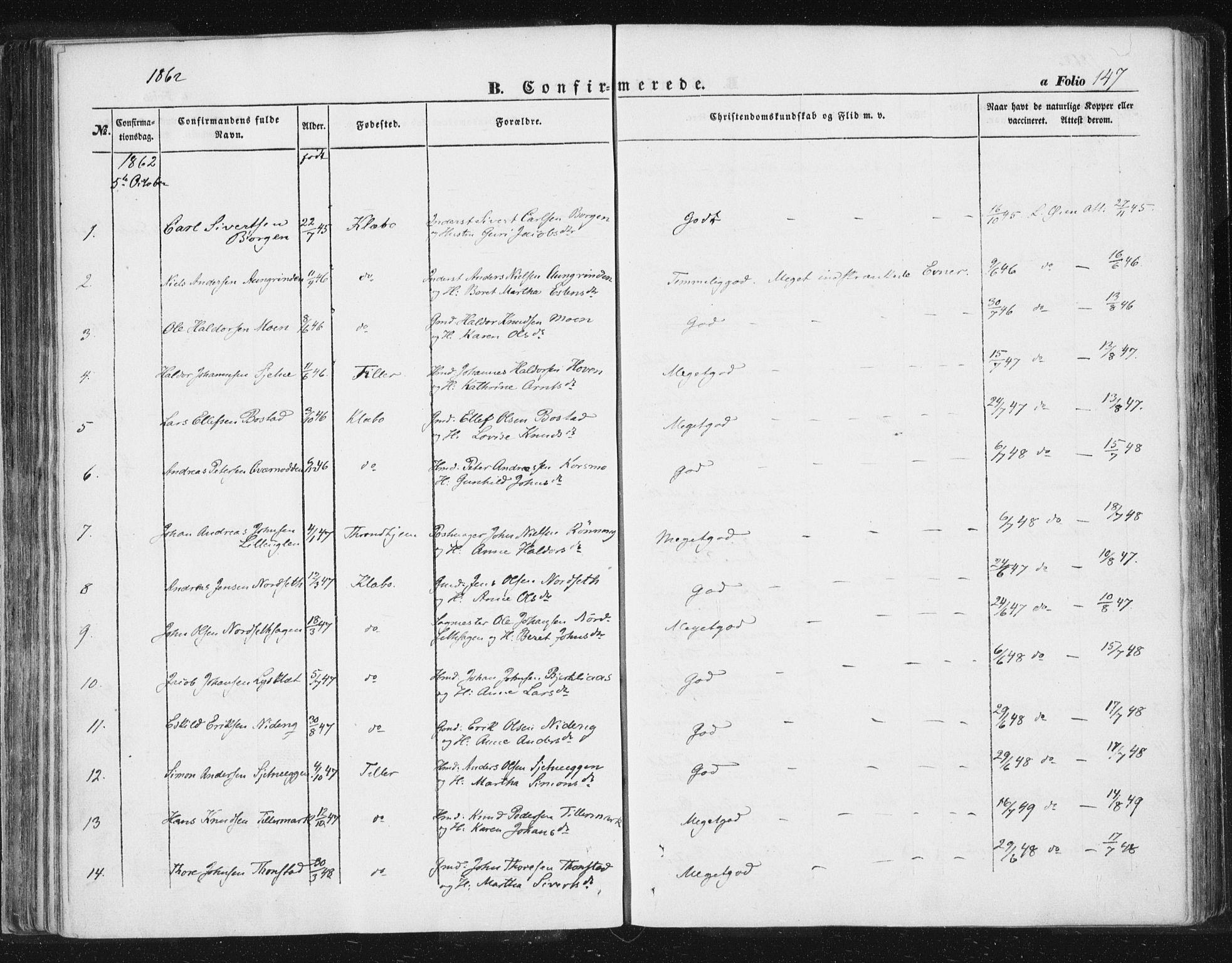 SAT, Ministerialprotokoller, klokkerbøker og fødselsregistre - Sør-Trøndelag, 618/L0441: Ministerialbok nr. 618A05, 1843-1862, s. 147