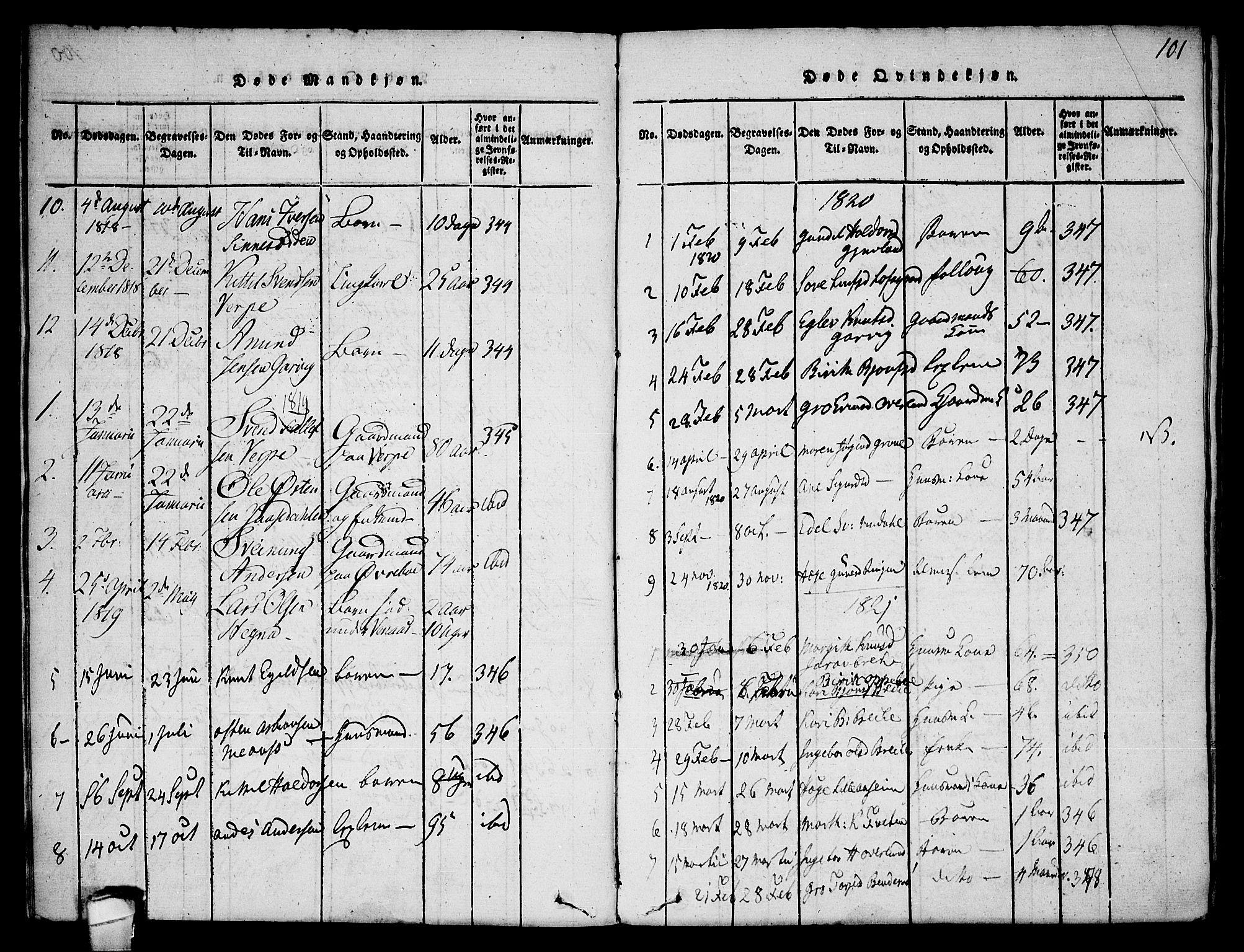SAKO, Seljord kirkebøker, F/Fa/L0010: Ministerialbok nr. I 10, 1815-1831, s. 101