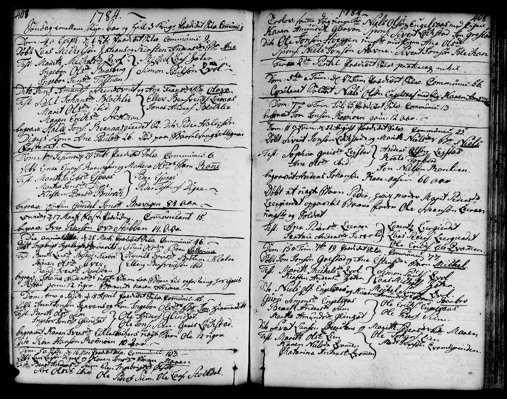SAT, Ministerialprotokoller, klokkerbøker og fødselsregistre - Sør-Trøndelag, 606/L0282: Ministerialbok nr. 606A02 /3, 1781-1817, s. 407-408